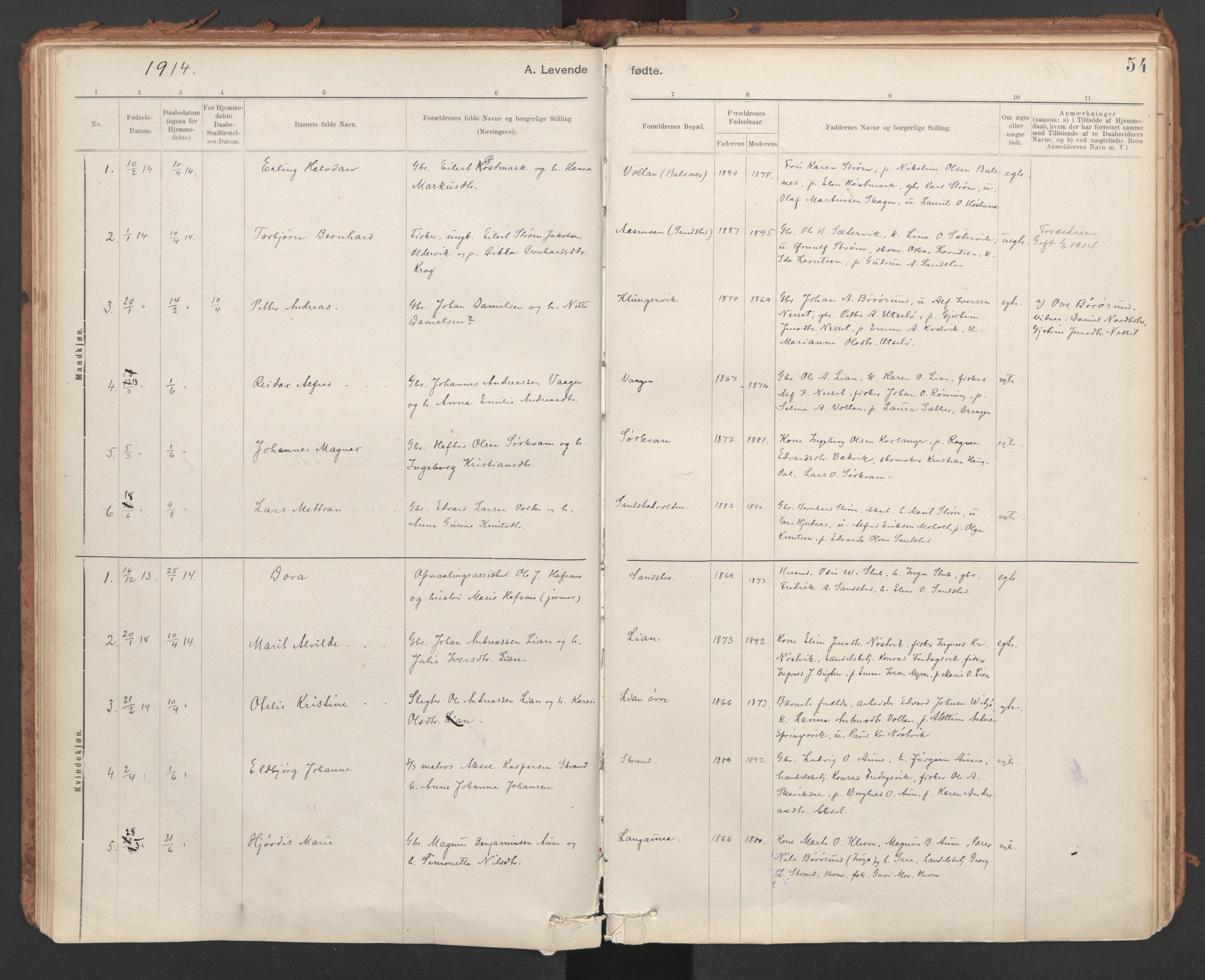 SAT, Ministerialprotokoller, klokkerbøker og fødselsregistre - Sør-Trøndelag, 639/L0572: Ministerialbok nr. 639A01, 1890-1920, s. 54