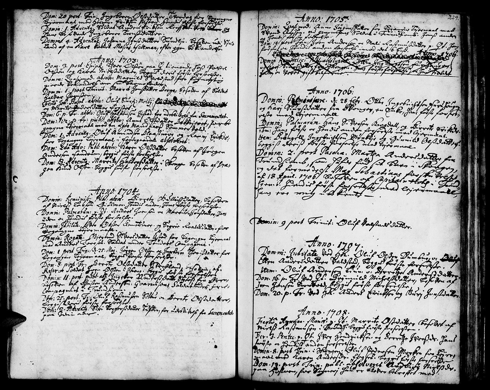 SAT, Ministerialprotokoller, klokkerbøker og fødselsregistre - Sør-Trøndelag, 668/L0801: Ministerialbok nr. 668A01, 1695-1716, s. 228-229