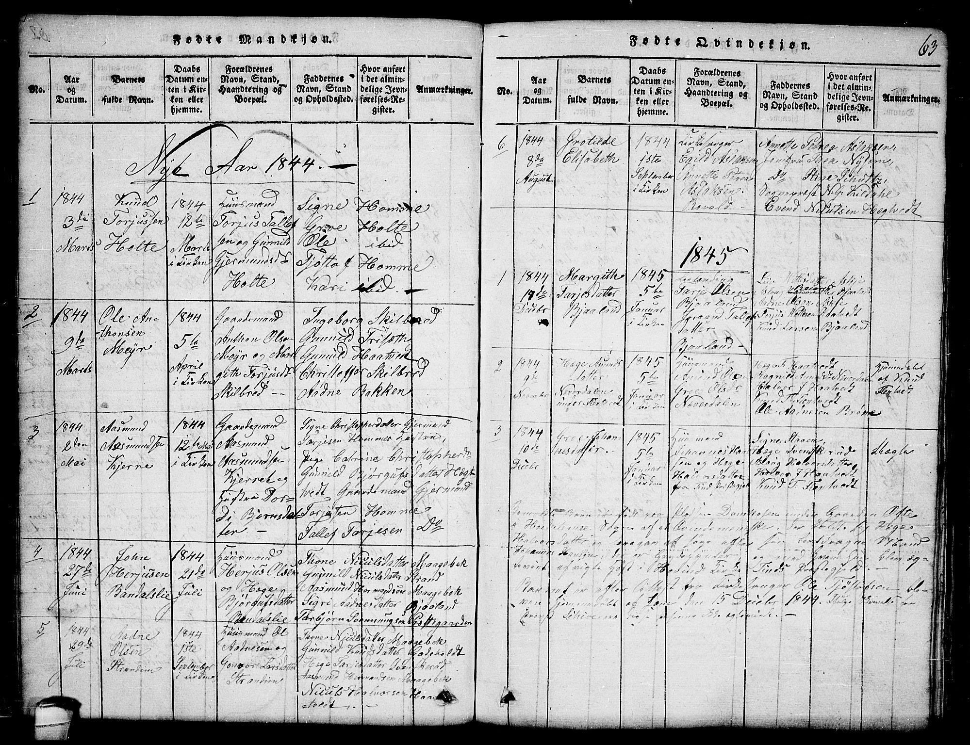 SAKO, Lårdal kirkebøker, G/Ga/L0001: Klokkerbok nr. I 1, 1815-1861, s. 63