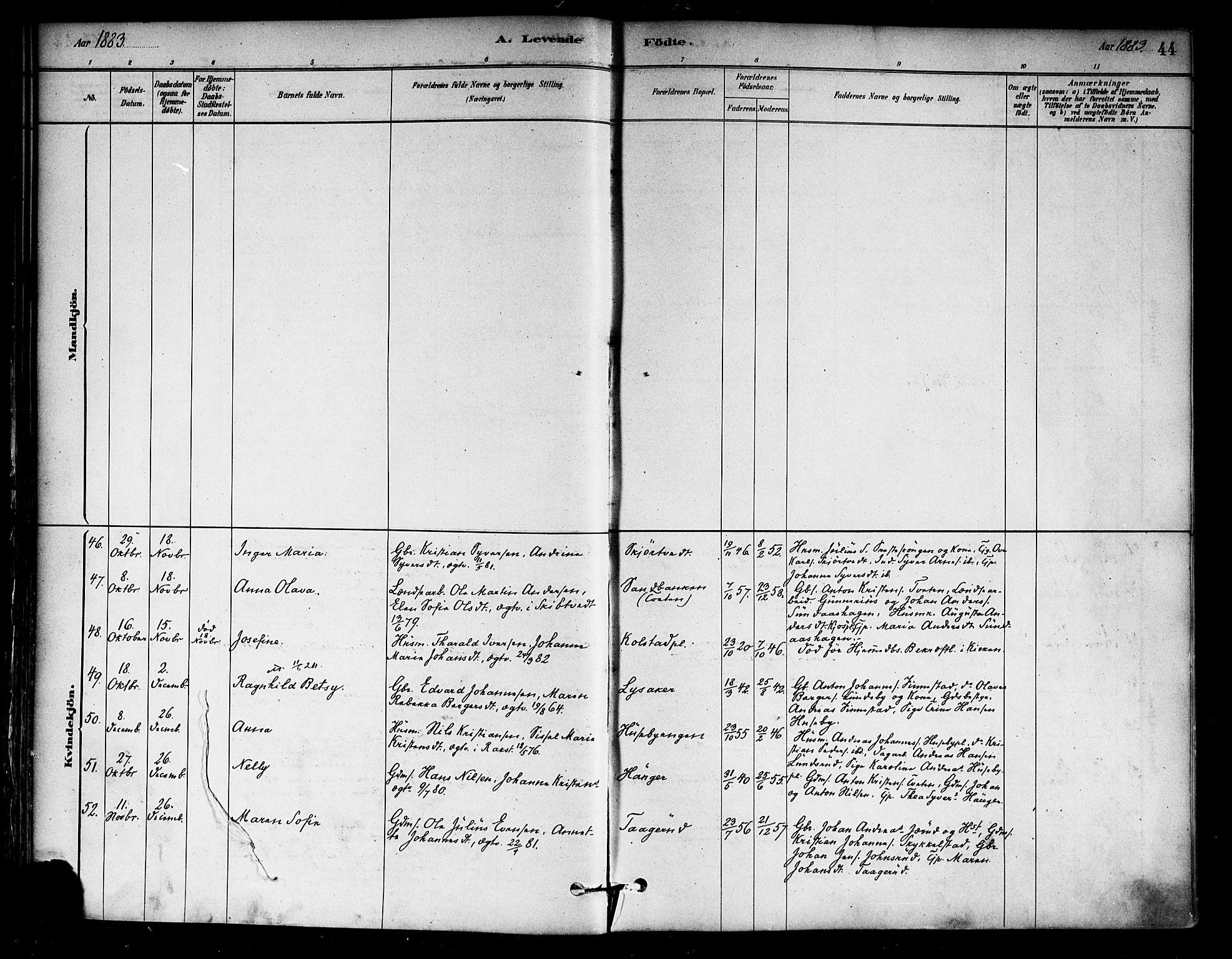 SAO, Eidsberg prestekontor Kirkebøker, F/Fa/L0012: Ministerialbok nr. I 12, 1879-1901, s. 44
