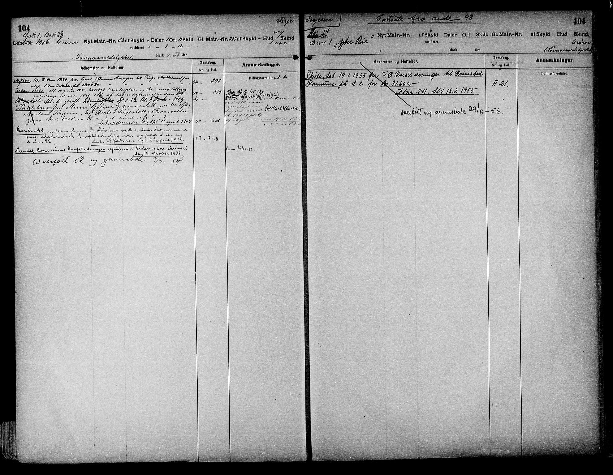 SAK, Vestre Nedenes/Sand sorenskriveri, G/Ga/L0017: Panteregister nr. 13a, 1872-1956, s. 104