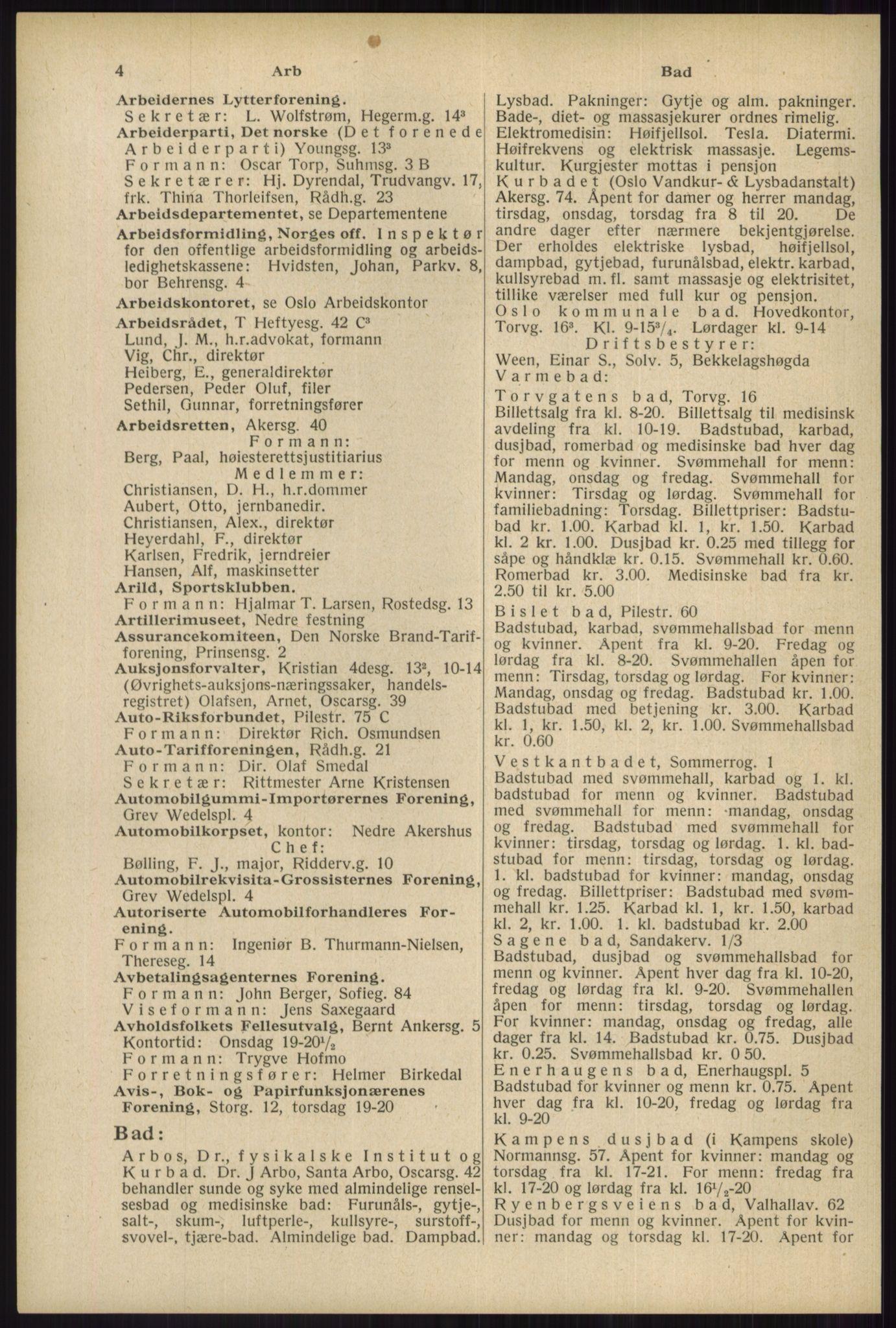 RA, Oslo adressebok (publikasjon)*, 1934, s. 4