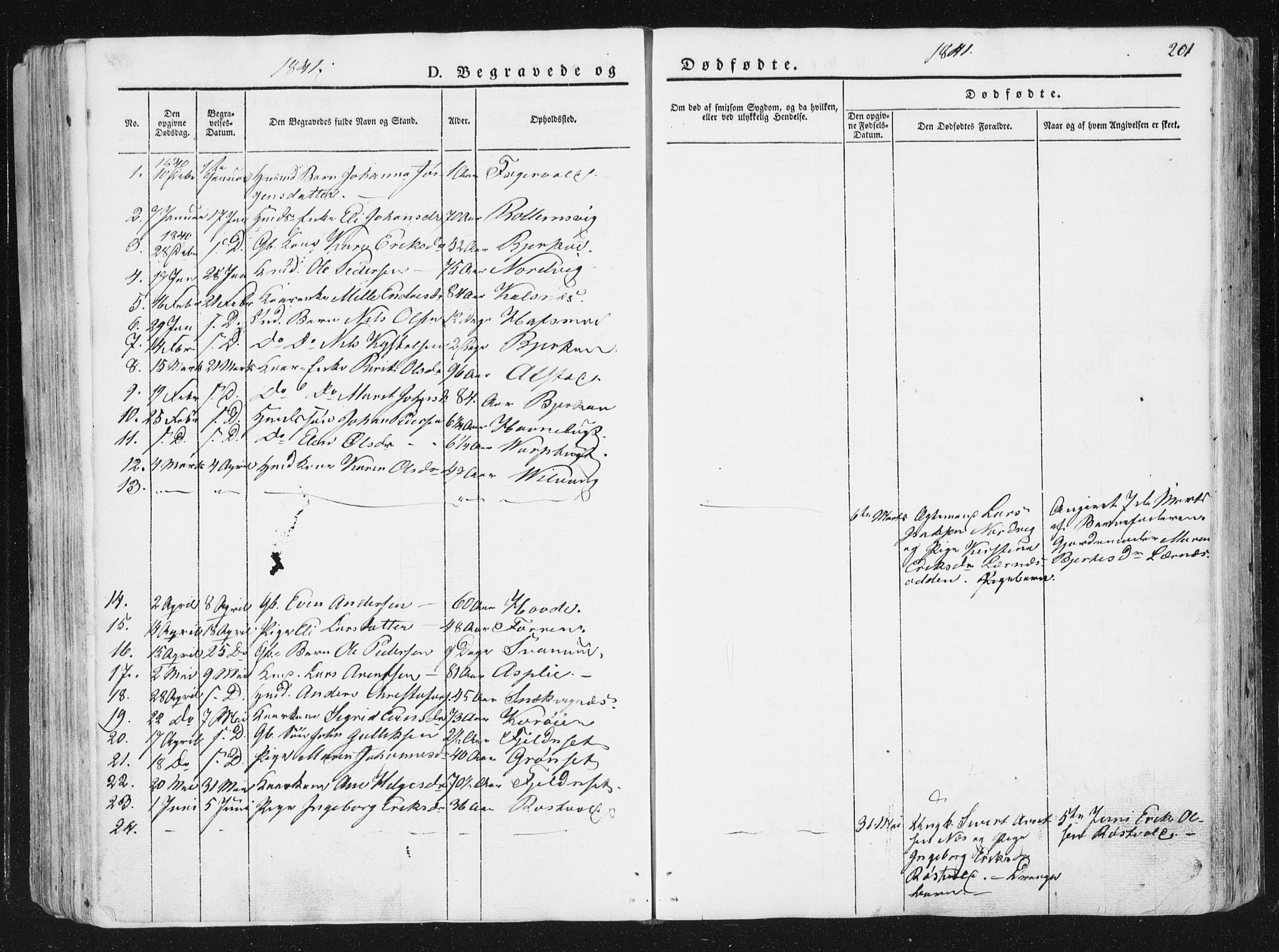 SAT, Ministerialprotokoller, klokkerbøker og fødselsregistre - Sør-Trøndelag, 630/L0493: Ministerialbok nr. 630A06, 1841-1851, s. 201