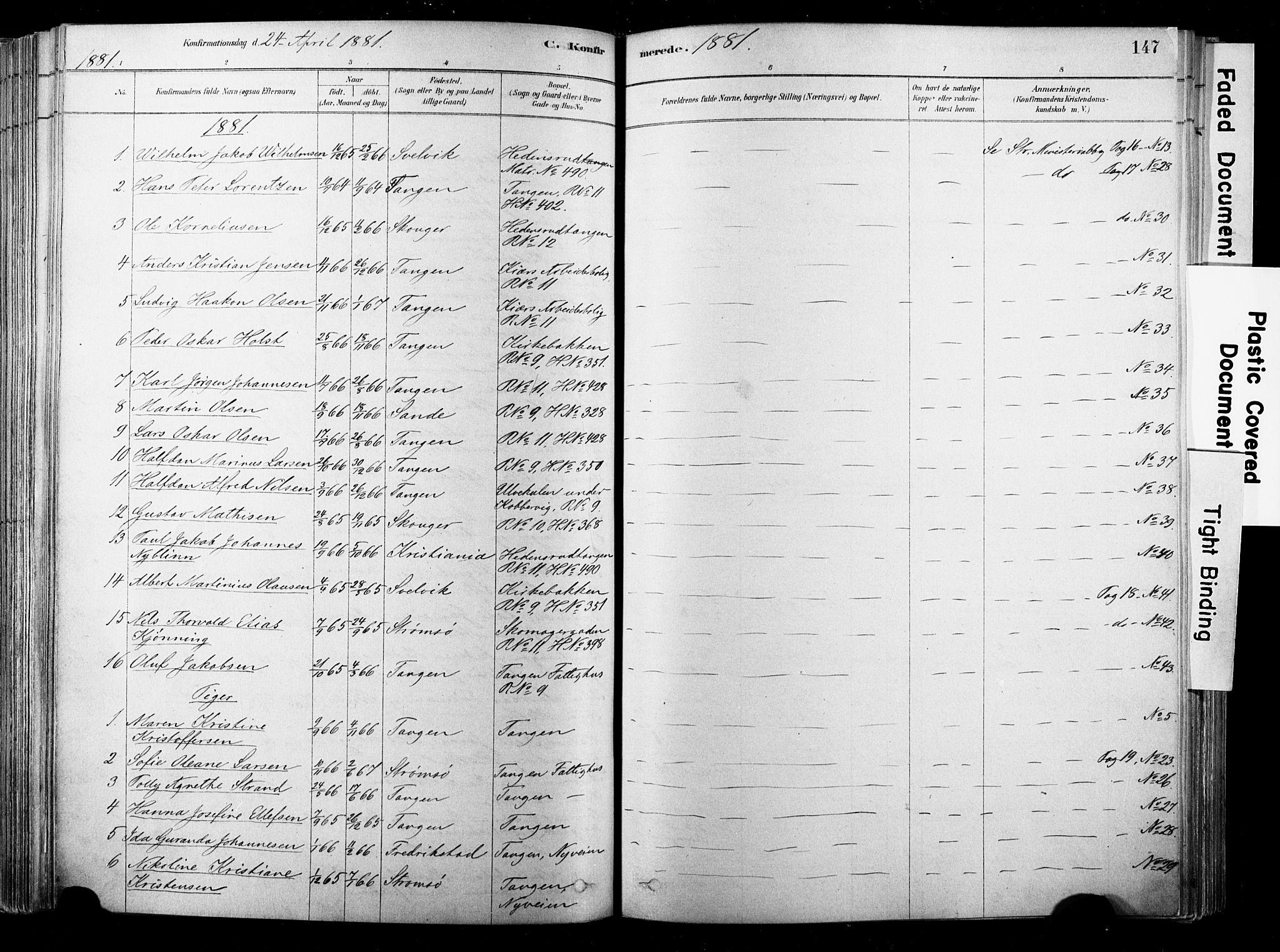 SAKO, Strømsø kirkebøker, F/Fb/L0006: Ministerialbok nr. II 6, 1879-1910, s. 147