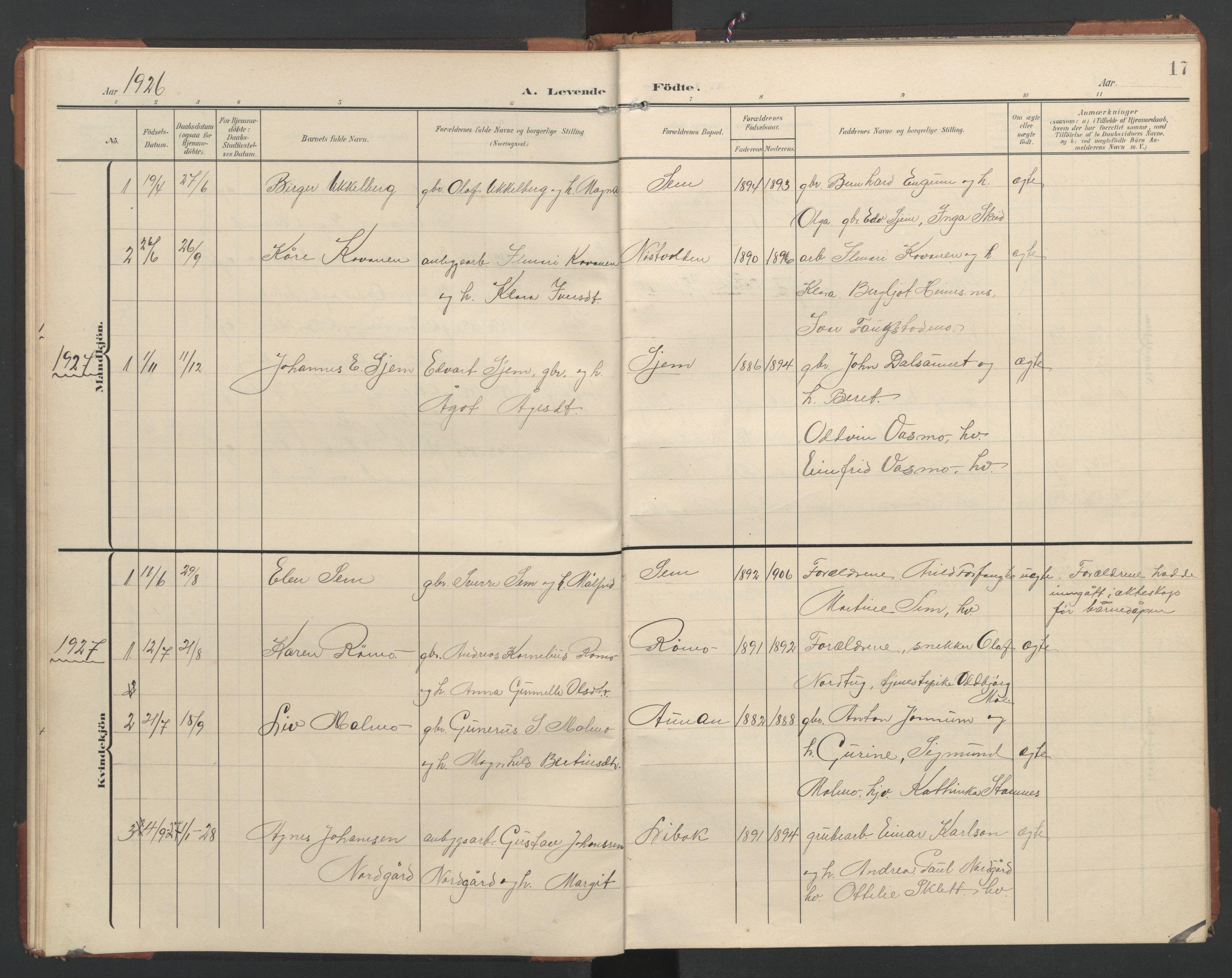 SAT, Ministerialprotokoller, klokkerbøker og fødselsregistre - Nord-Trøndelag, 748/L0465: Klokkerbok nr. 748C01, 1908-1960, s. 17