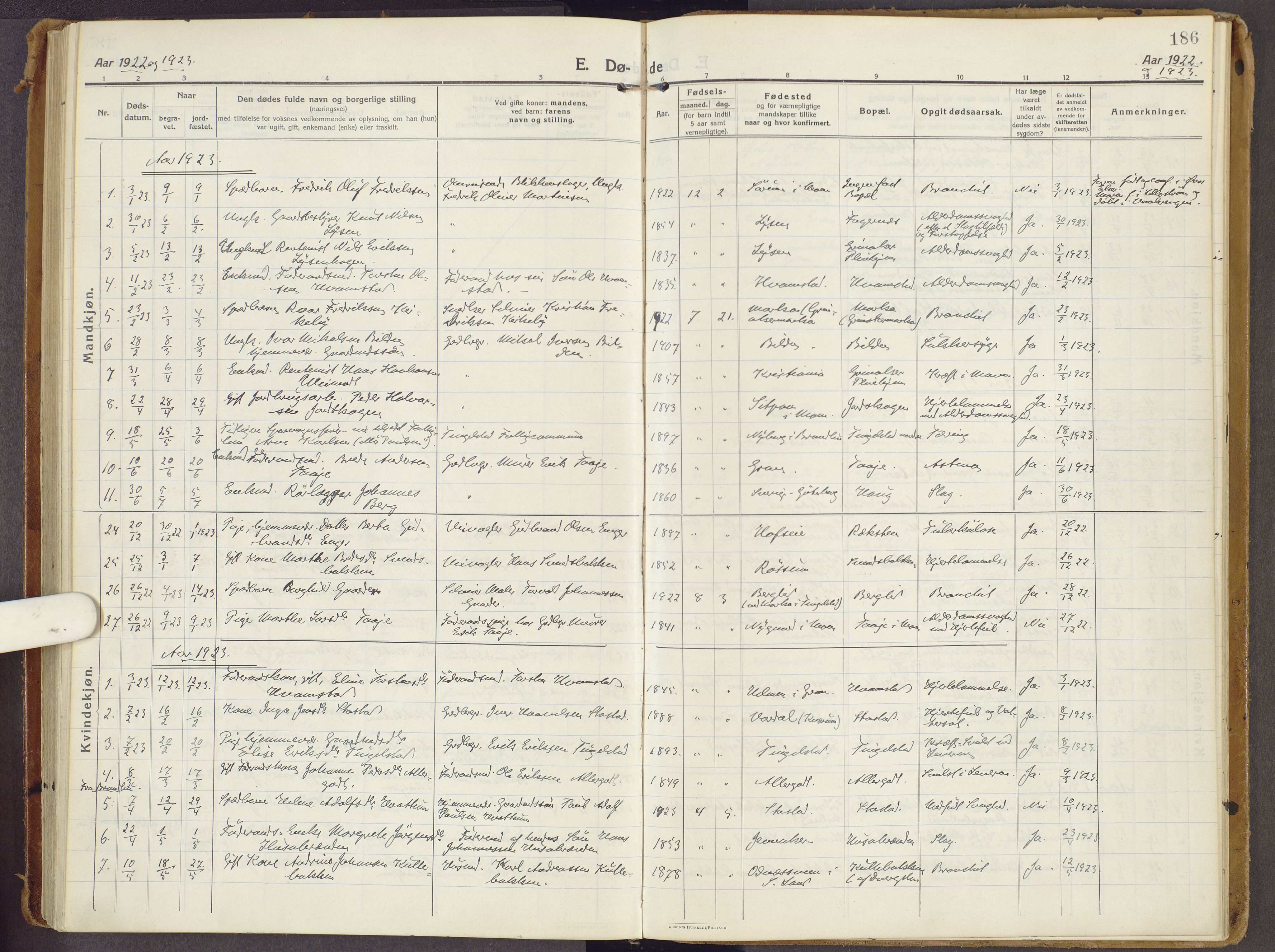 SAH, Brandbu prestekontor, Ministerialbok nr. 3, 1914-1928, s. 186