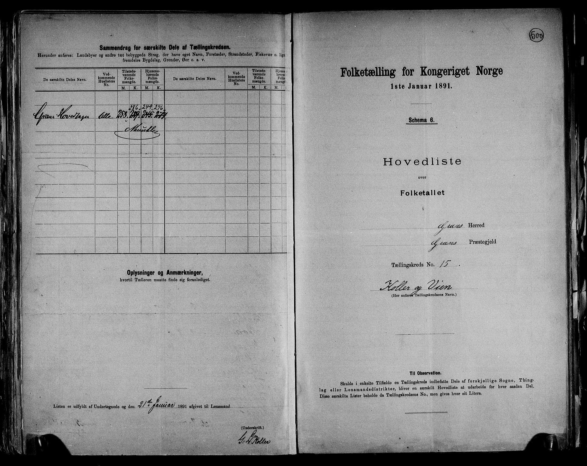 RA, Folketelling 1891 for 0534 Gran herred, 1891, s. 40