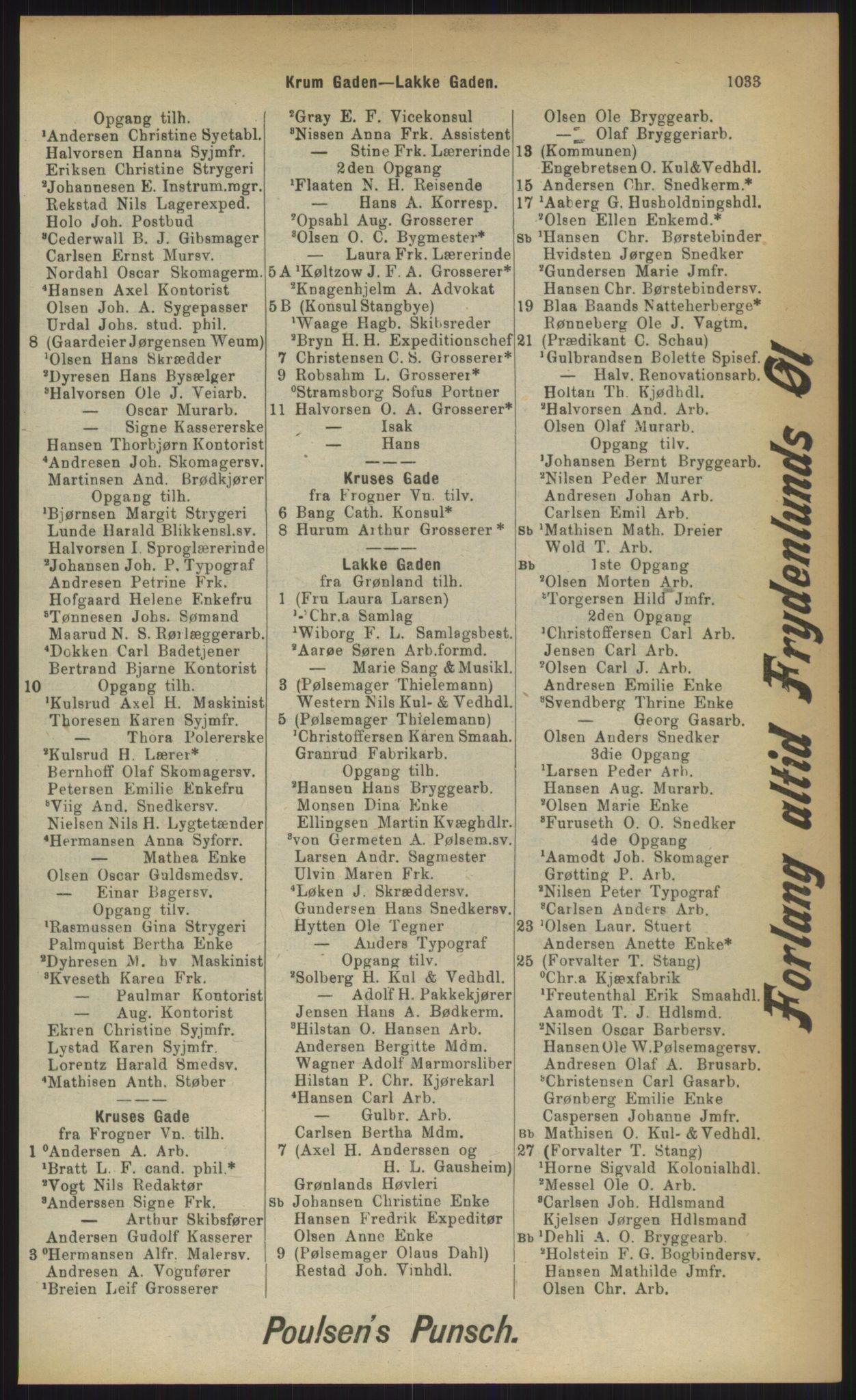 RA, Kristiania adressebok (publikasjon)*, 1903, s. 1033