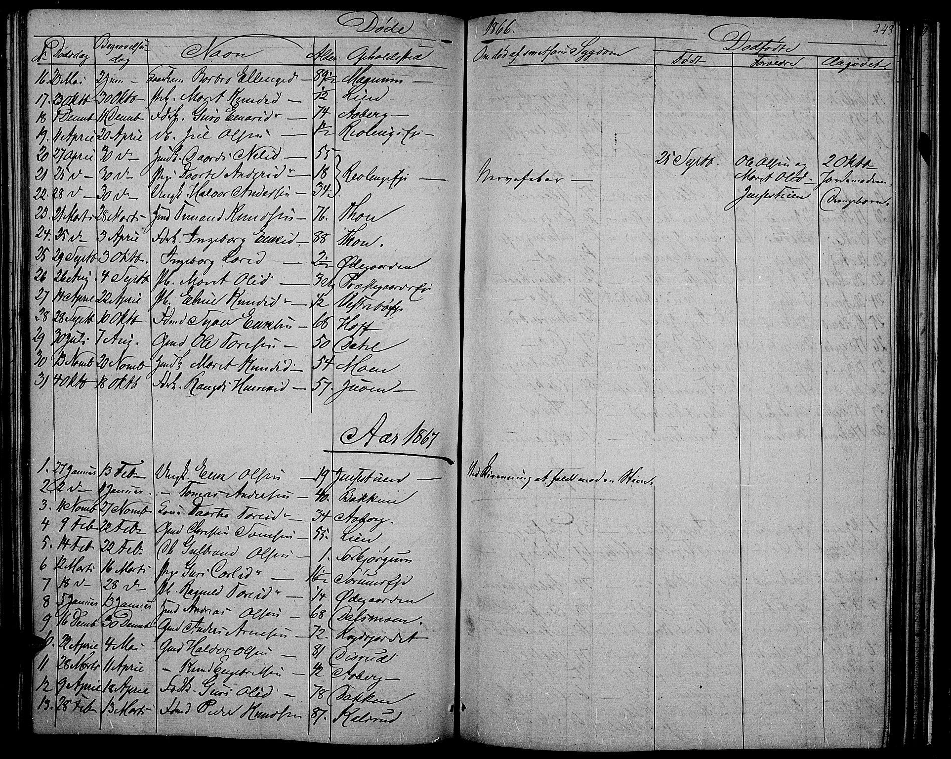 SAH, Nord-Aurdal prestekontor, Klokkerbok nr. 2, 1842-1877, s. 243