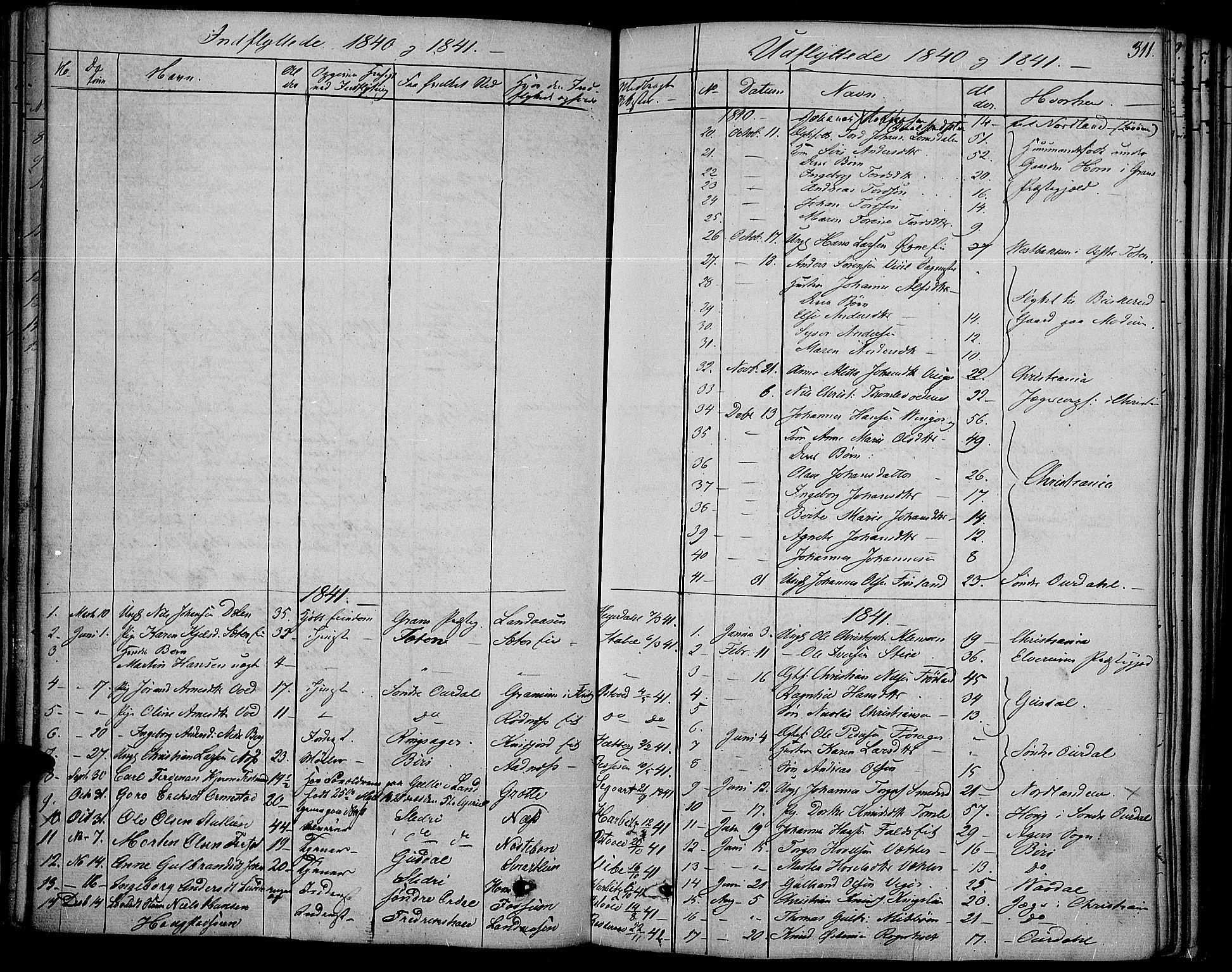 SAH, Land prestekontor, Ministerialbok nr. 8, 1830-1846, s. 311