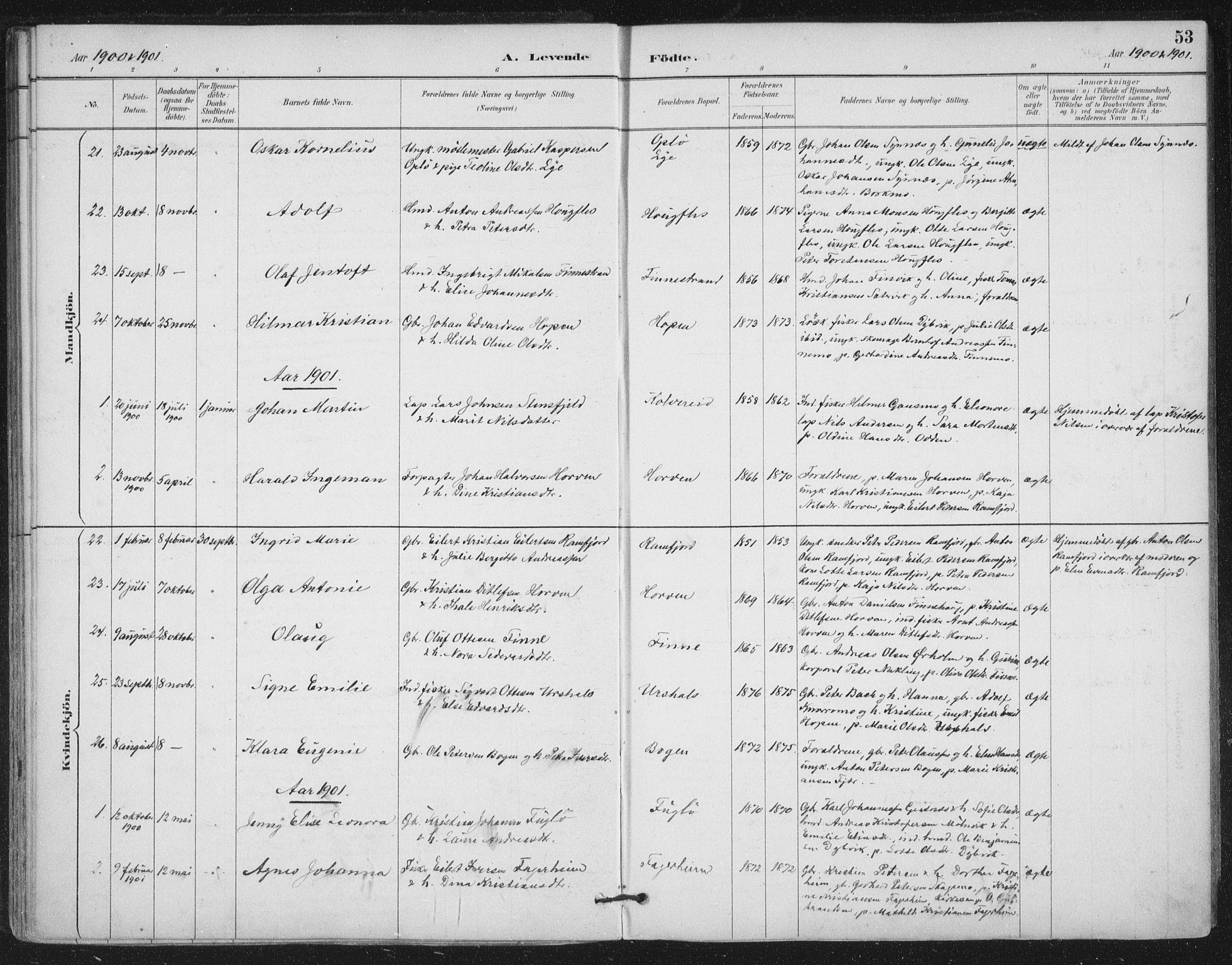 SAT, Ministerialprotokoller, klokkerbøker og fødselsregistre - Nord-Trøndelag, 780/L0644: Ministerialbok nr. 780A08, 1886-1903, s. 53
