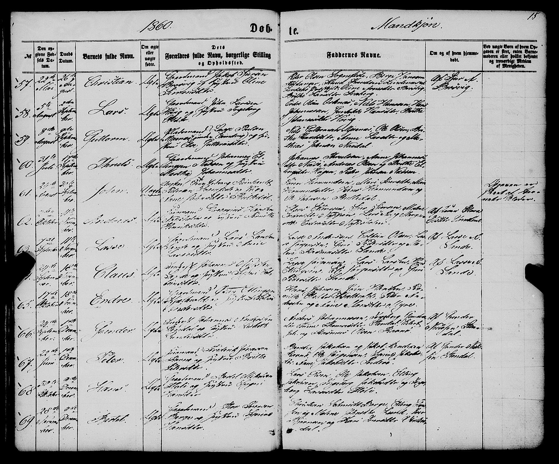 SAB, Gulen Sokneprestembete, Ministerialbok nr. A 22, 1859-1869, s. 15