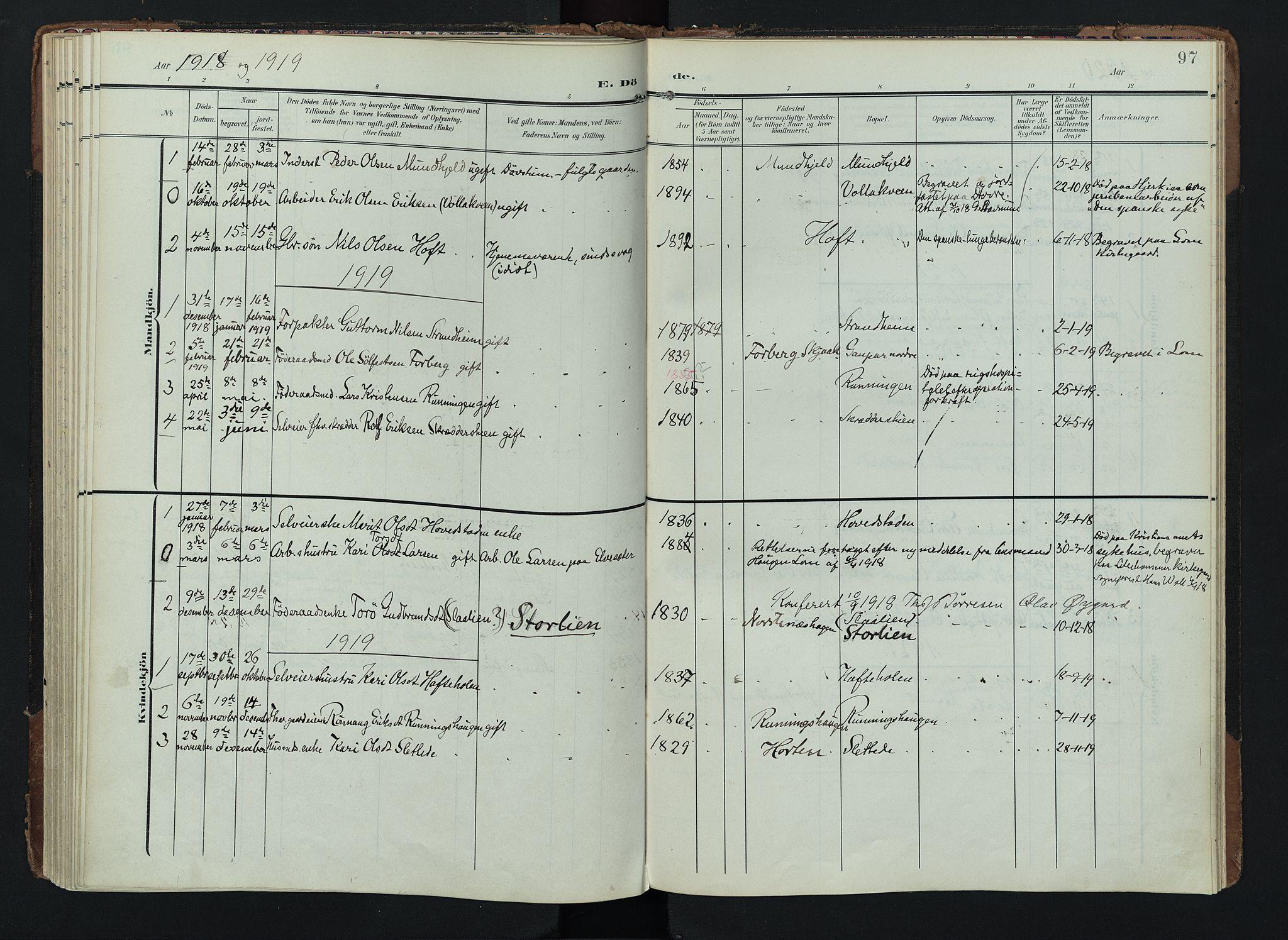 SAH, Lom prestekontor, K/L0012: Ministerialbok nr. 12, 1904-1928, s. 97