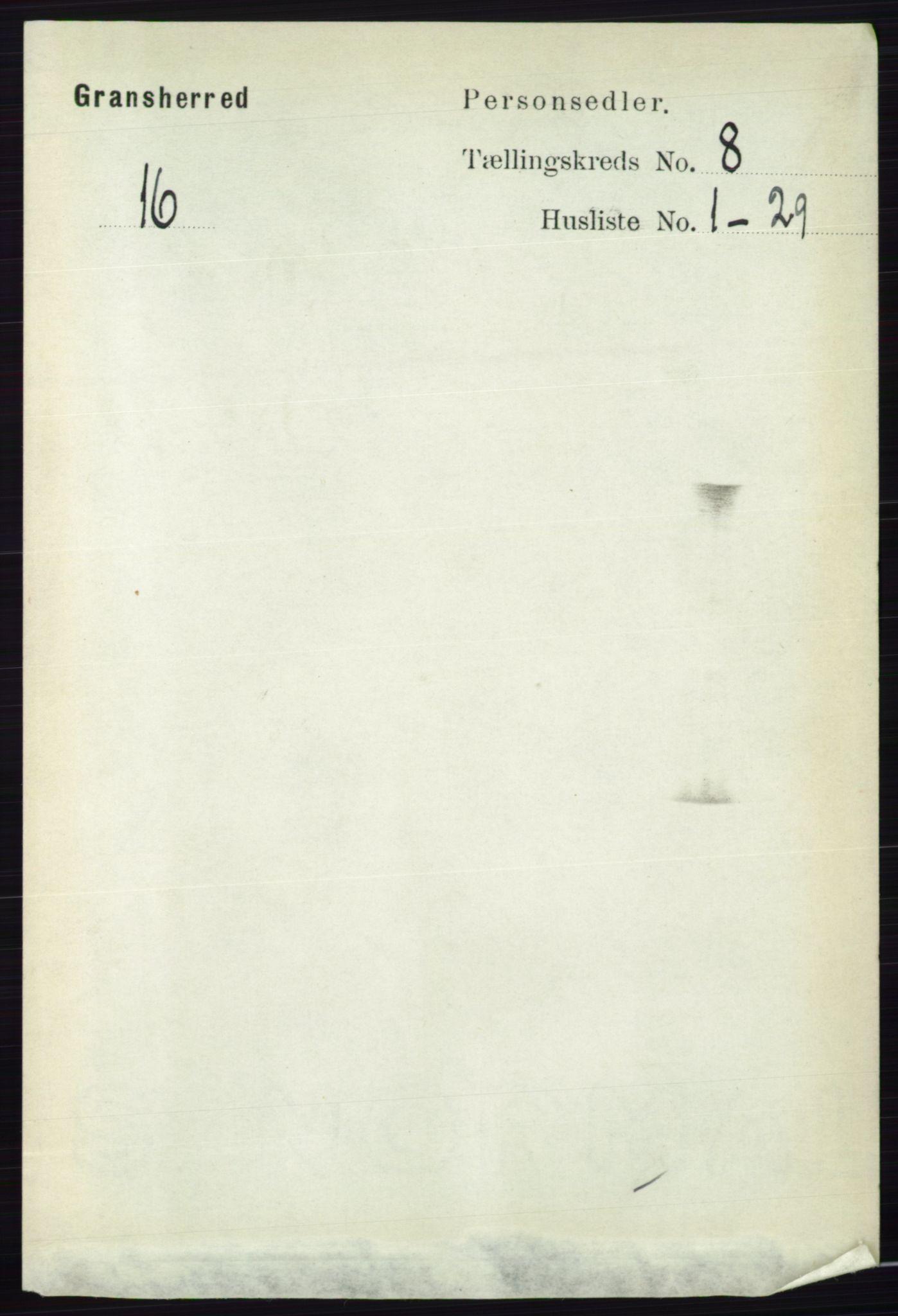 RA, Folketelling 1891 for 0824 Gransherad herred, 1891, s. 1409