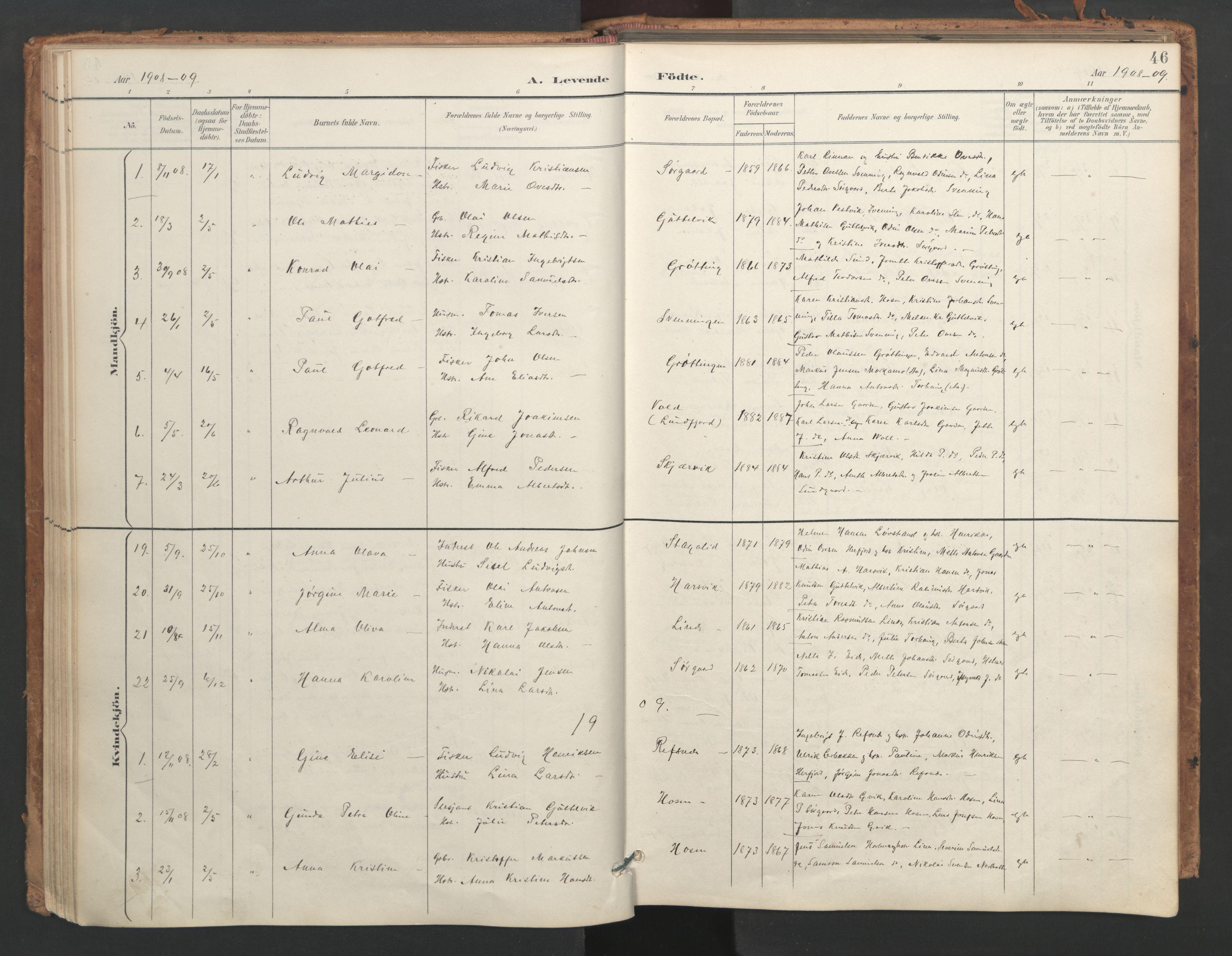SAT, Ministerialprotokoller, klokkerbøker og fødselsregistre - Sør-Trøndelag, 656/L0693: Ministerialbok nr. 656A02, 1894-1913, s. 46