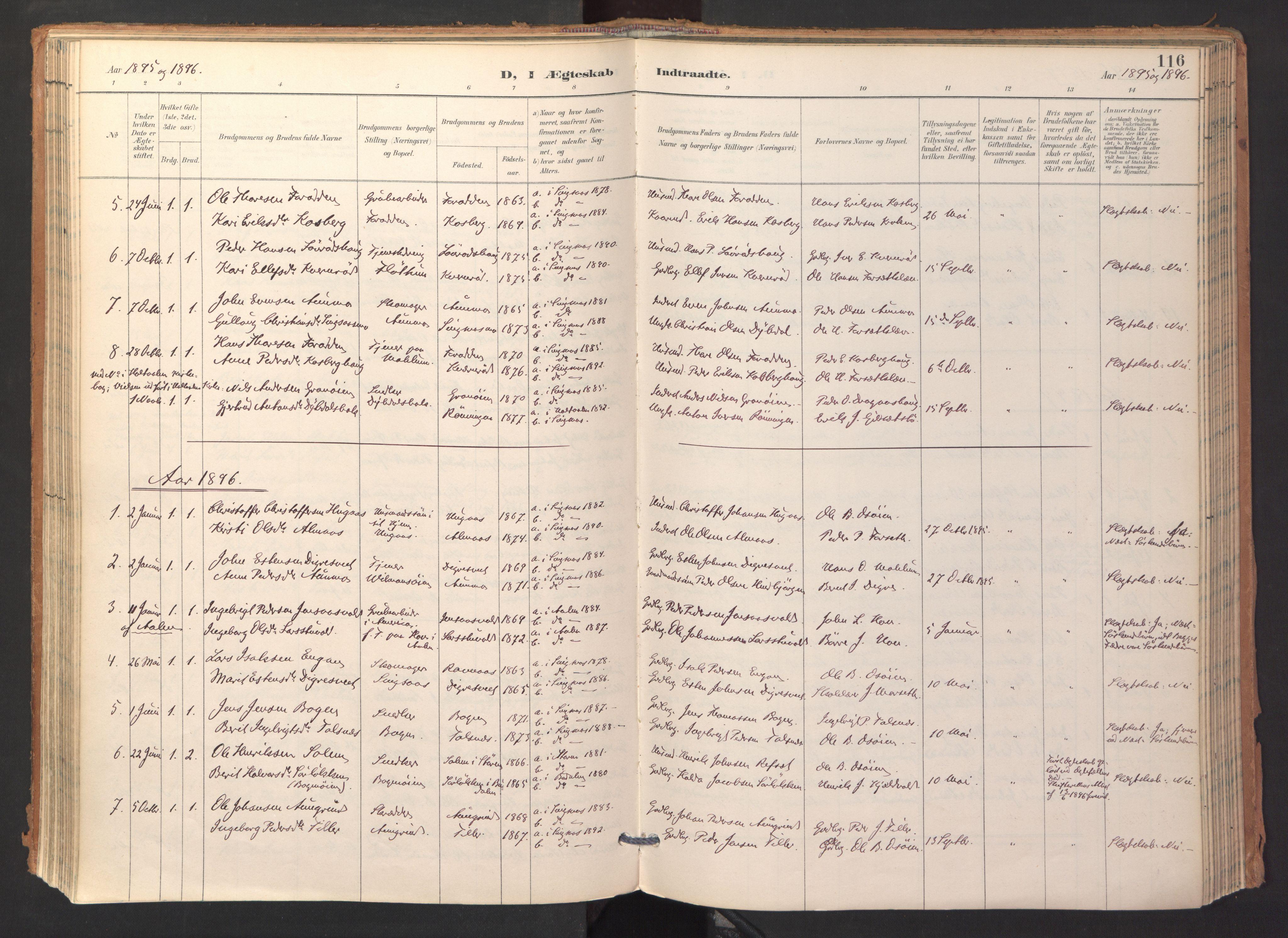 SAT, Ministerialprotokoller, klokkerbøker og fødselsregistre - Sør-Trøndelag, 688/L1025: Ministerialbok nr. 688A02, 1891-1909, s. 116