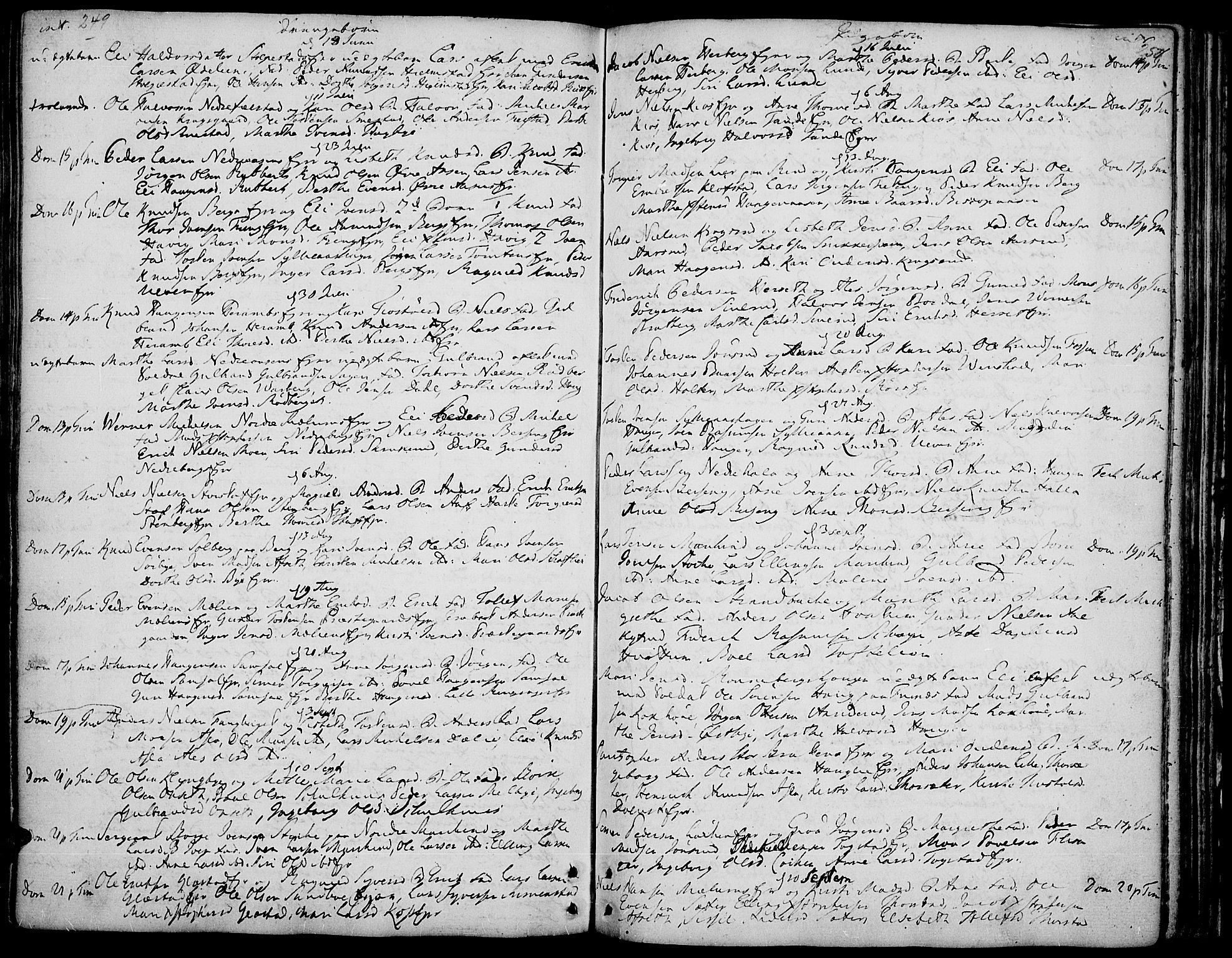 SAH, Ringsaker prestekontor, K/Ka/L0002: Ministerialbok nr. 2, 1747-1774, s. 249-250