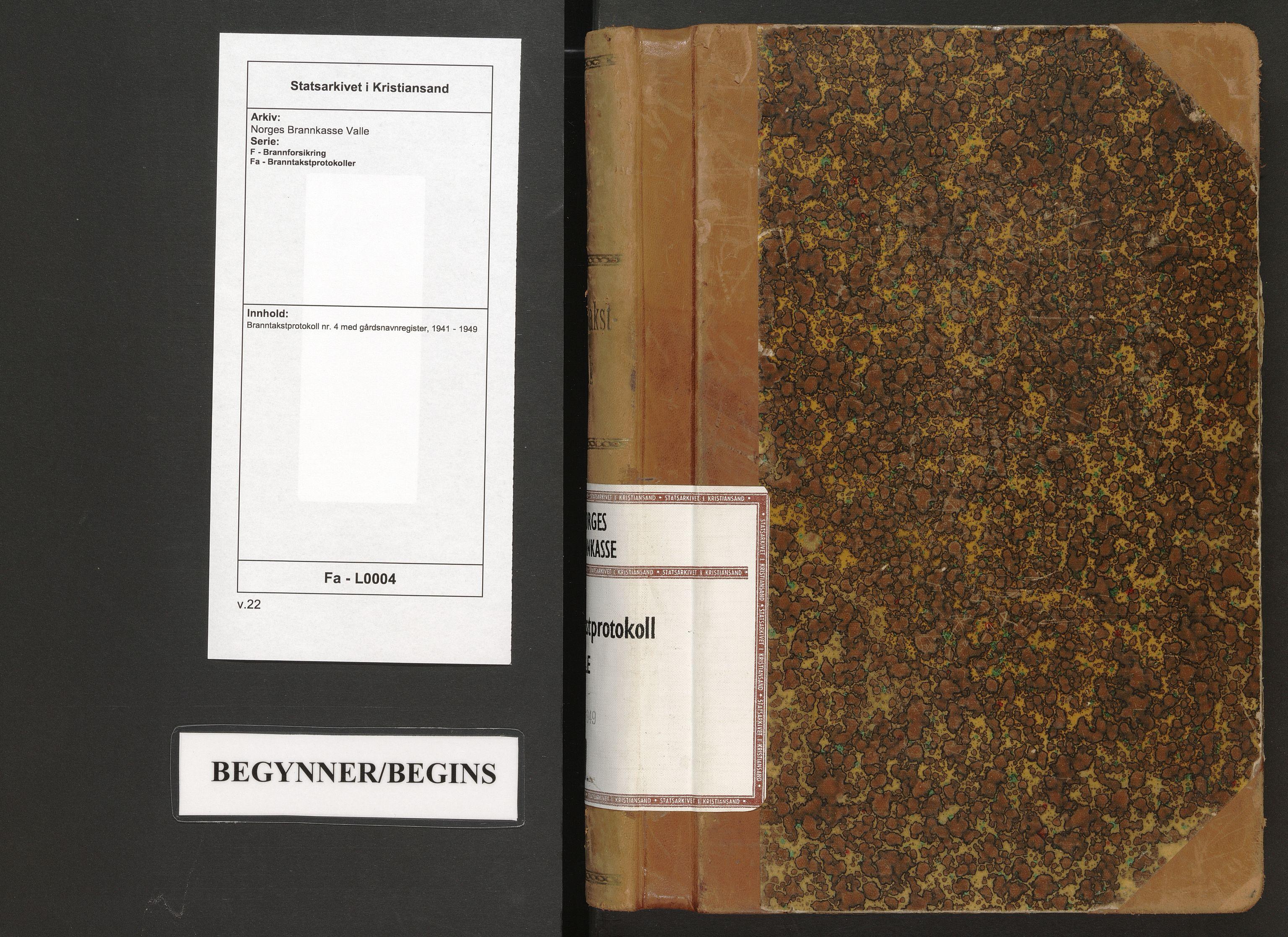 SAK, Norges Brannkasse Valle, F/Fa/L0004: Branntakstprotokoll nr. 4 med gårdsnavnregister, 1941-1949