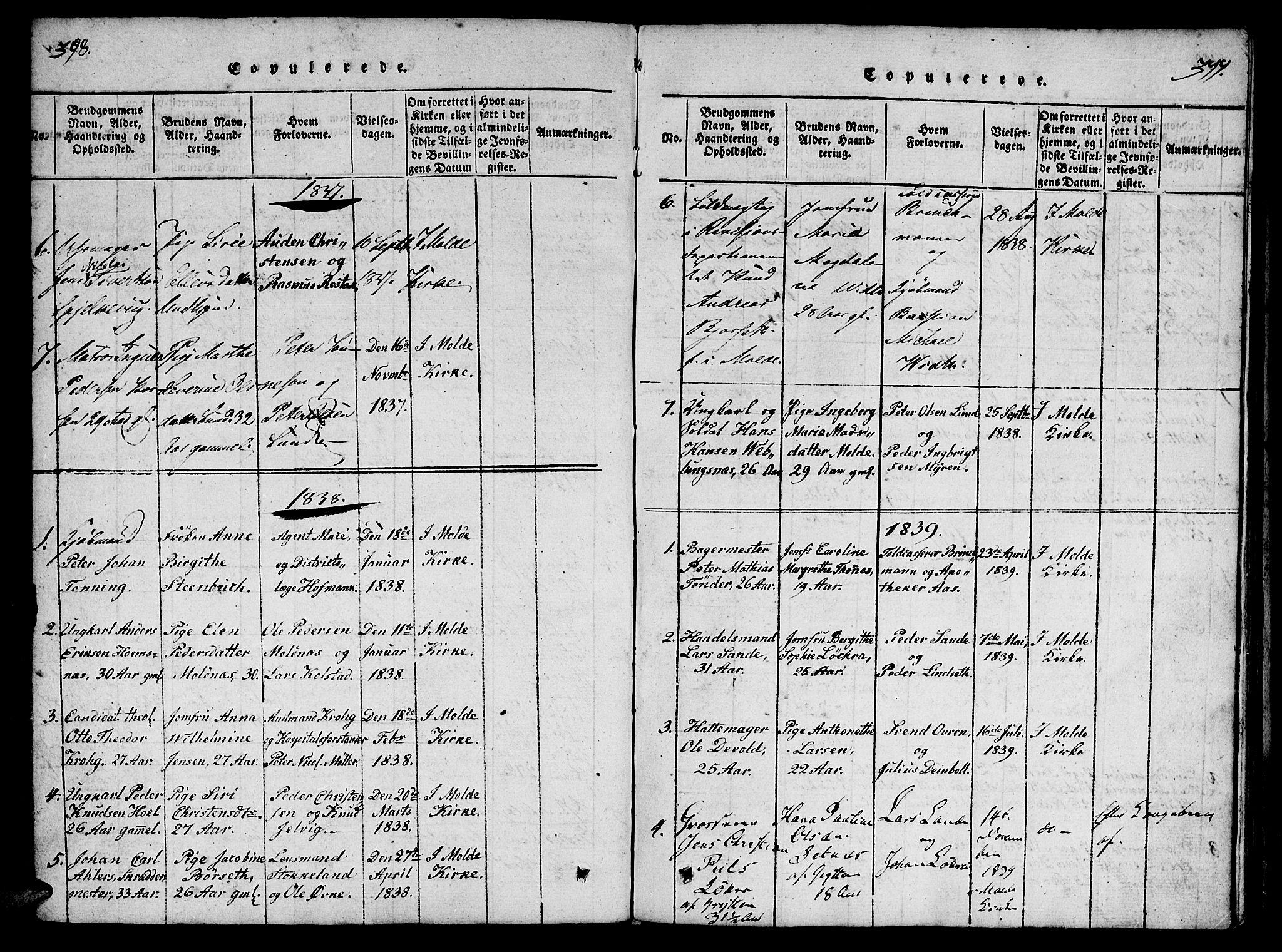 SAT, Ministerialprotokoller, klokkerbøker og fødselsregistre - Møre og Romsdal, 558/L0688: Ministerialbok nr. 558A02, 1818-1843, s. 398-399
