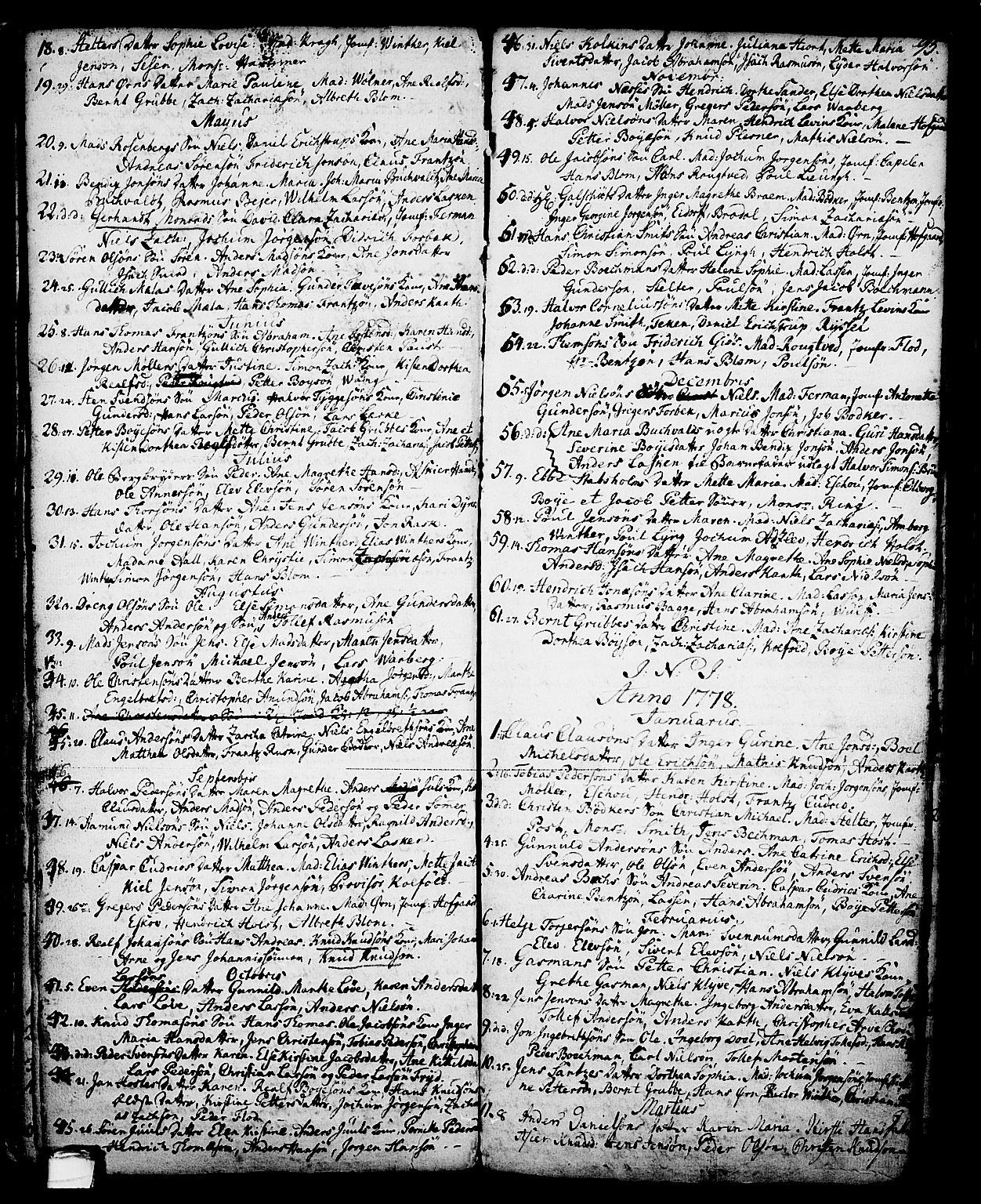 SAKO, Skien kirkebøker, G/Ga/L0001: Klokkerbok nr. 1, 1756-1791, s. 95