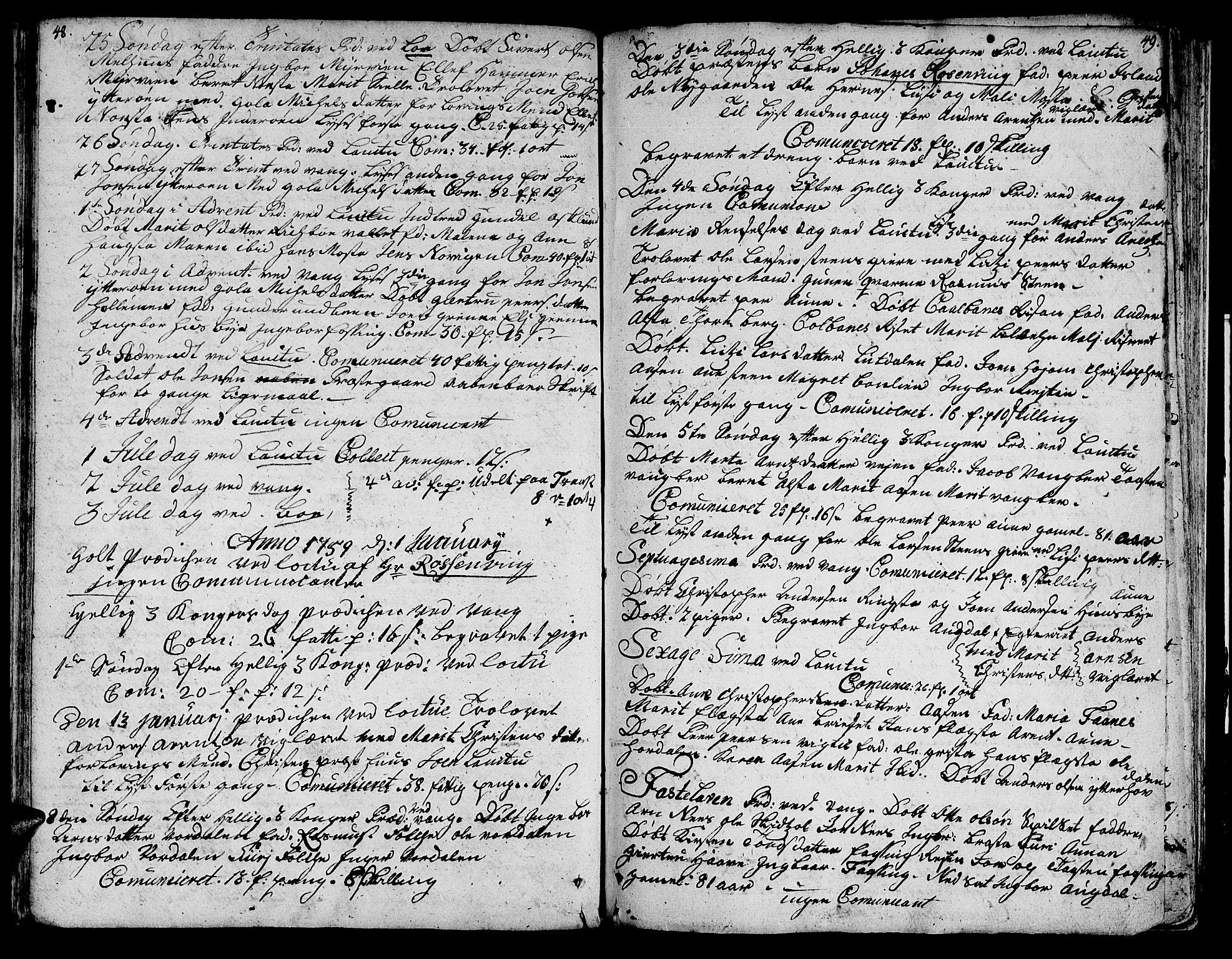 SAT, Ministerialprotokoller, klokkerbøker og fødselsregistre - Nord-Trøndelag, 713/L0109: Ministerialbok nr. 713A01, 1750-1778, s. 48-49