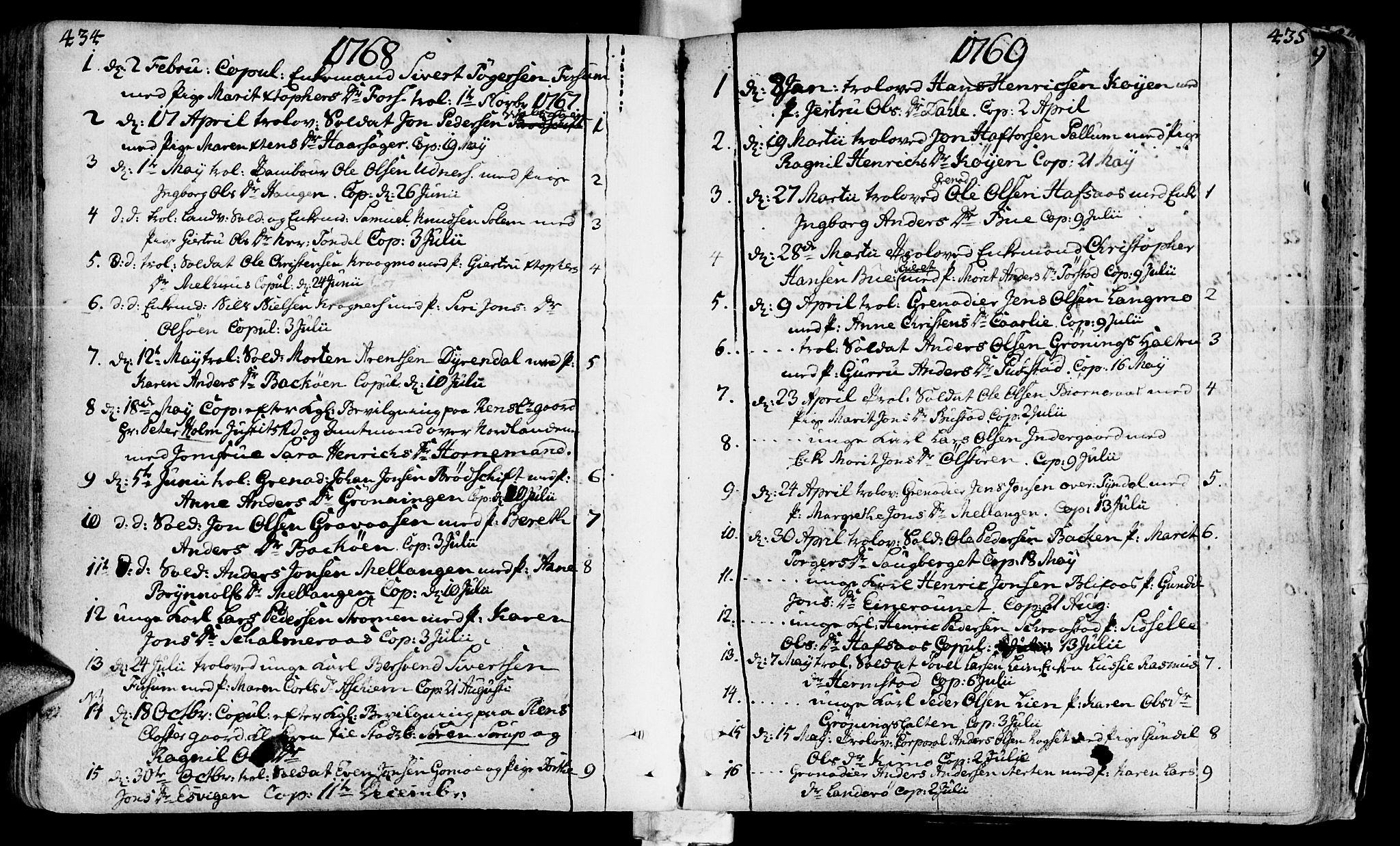 SAT, Ministerialprotokoller, klokkerbøker og fødselsregistre - Sør-Trøndelag, 646/L0605: Ministerialbok nr. 646A03, 1751-1790, s. 434-435
