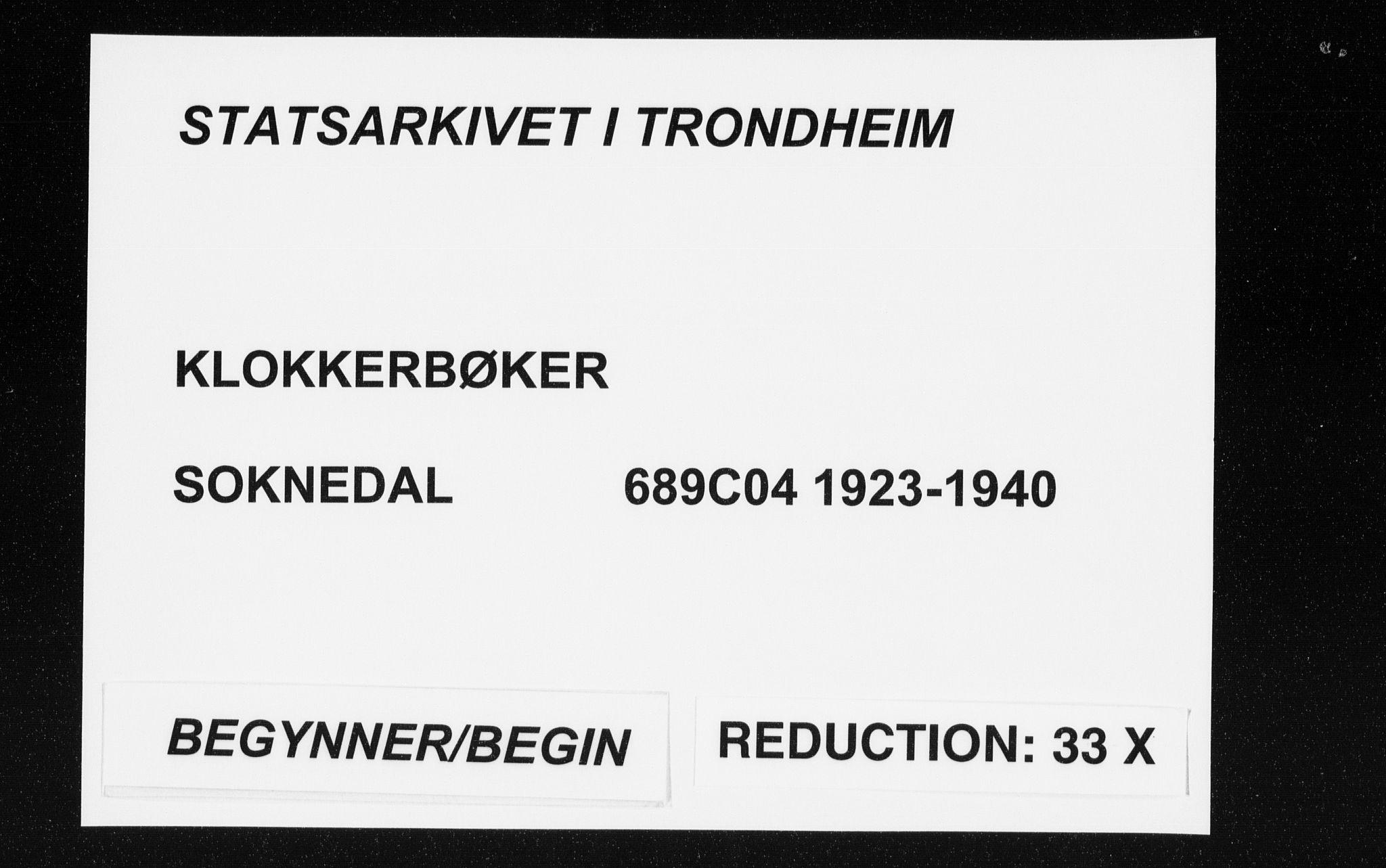 SAT, Ministerialprotokoller, klokkerbøker og fødselsregistre - Sør-Trøndelag, 689/L1045: Klokkerbok nr. 689C04, 1923-1940