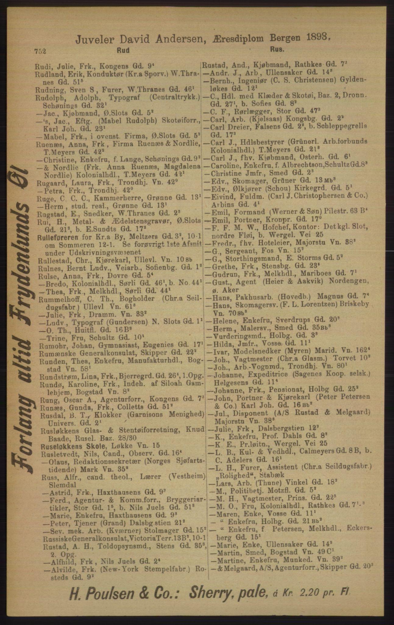 RA, Kristiania adressebok (publikasjon)*, 1906, s. 752