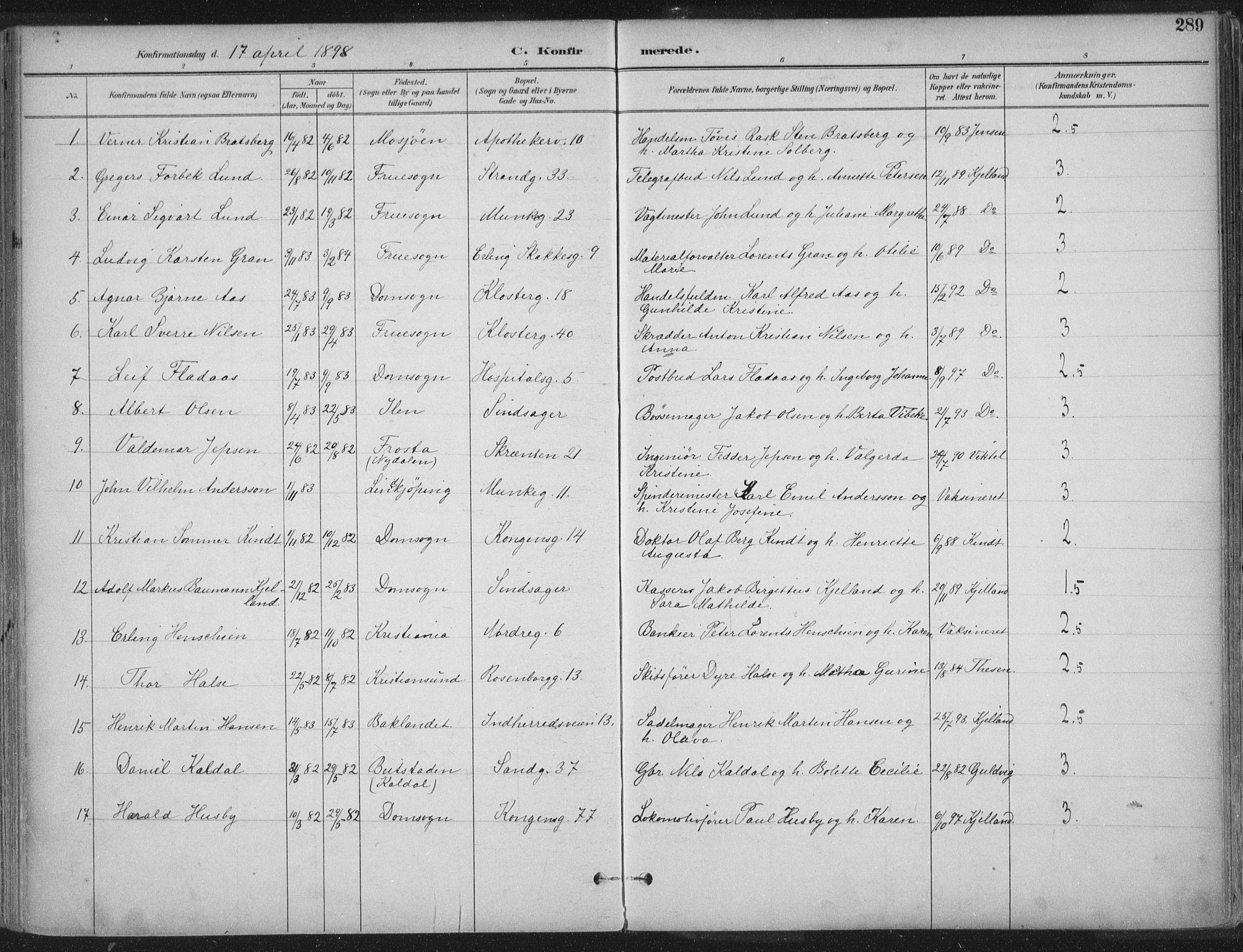 SAT, Ministerialprotokoller, klokkerbøker og fødselsregistre - Sør-Trøndelag, 601/L0062: Ministerialbok nr. 601A30, 1891-1911, s. 289