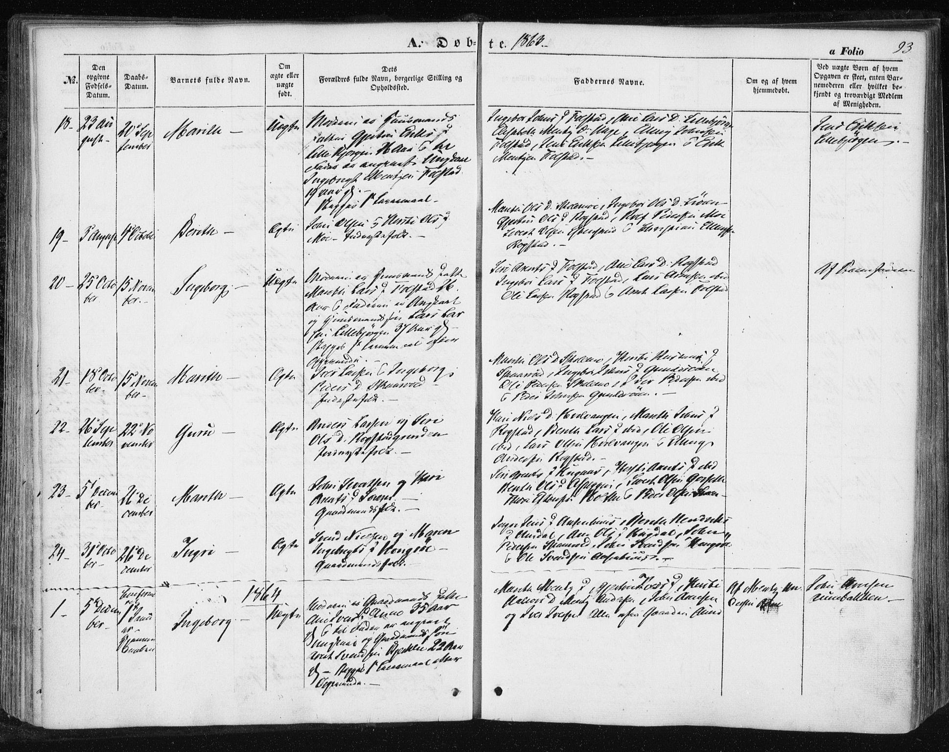 SAT, Ministerialprotokoller, klokkerbøker og fødselsregistre - Sør-Trøndelag, 687/L1000: Ministerialbok nr. 687A06, 1848-1869, s. 93