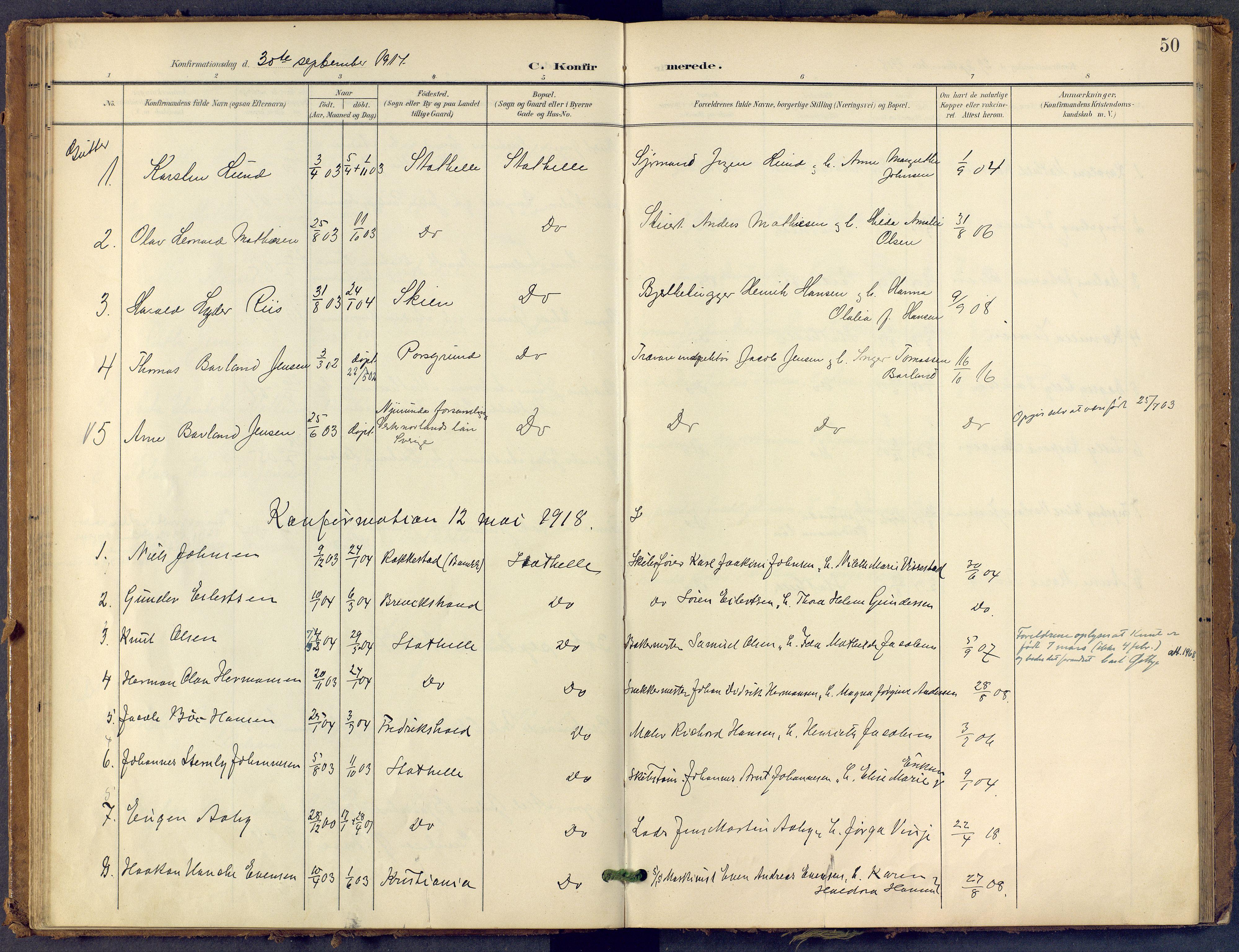 SAKO, Bamble kirkebøker, F/Fb/L0002: Ministerialbok nr. II 2, 1900-1921, s. 50