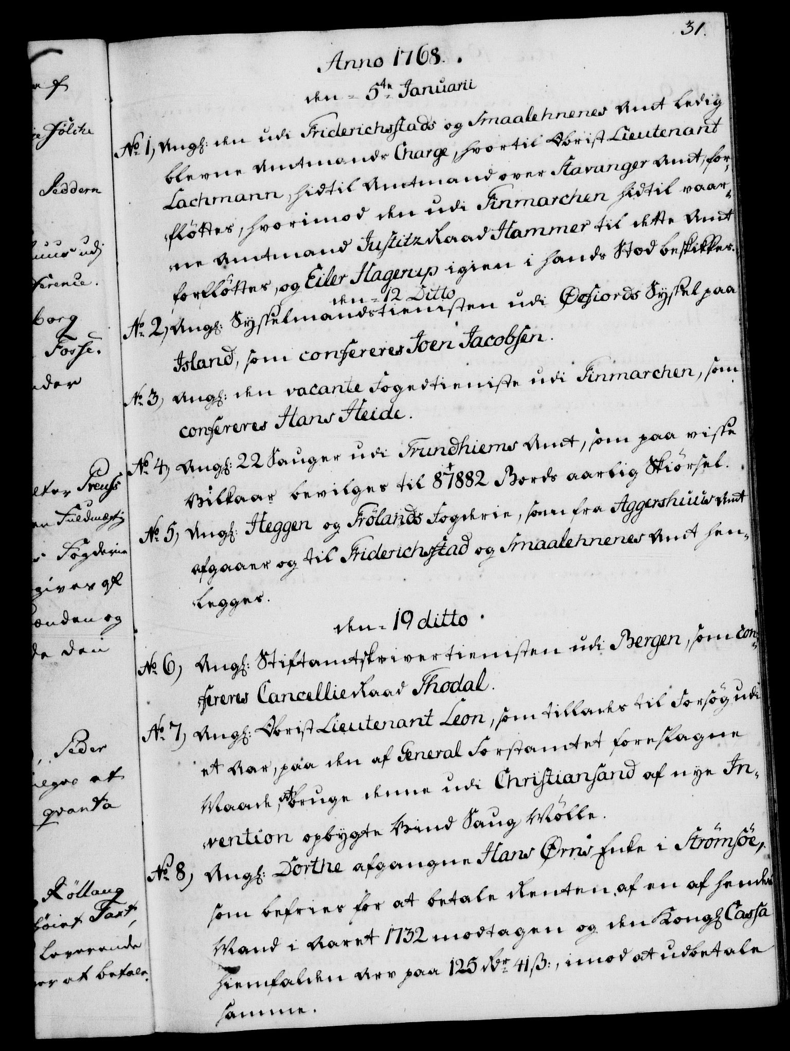 RA, Rentekammeret, Kammerkanselliet, G/Gf/Gfb/L0008: Register til norske relasjons- og resolusjonsprotokoller (merket RK 52.103), 1766-1771, s. 31