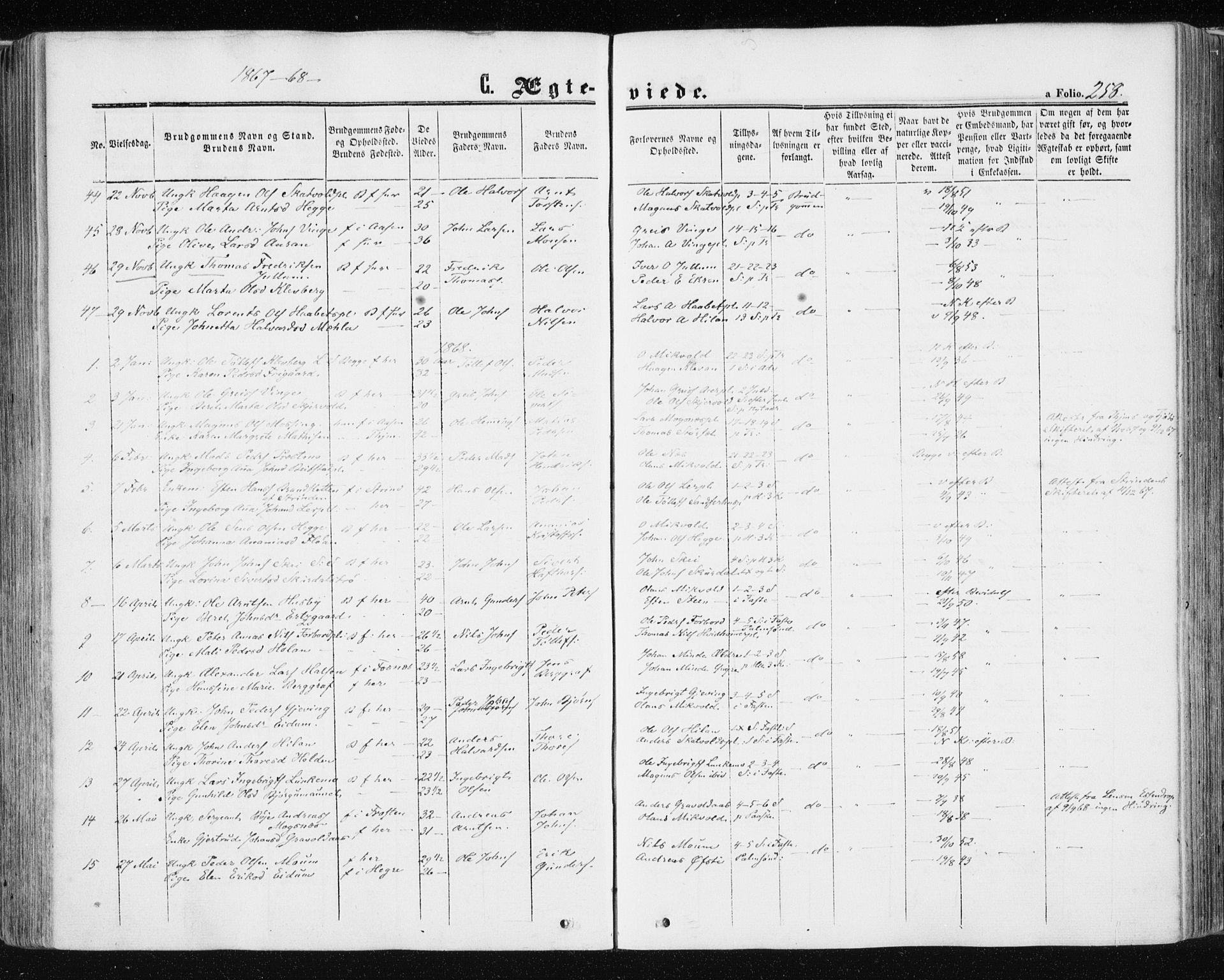 SAT, Ministerialprotokoller, klokkerbøker og fødselsregistre - Nord-Trøndelag, 709/L0075: Ministerialbok nr. 709A15, 1859-1870, s. 258
