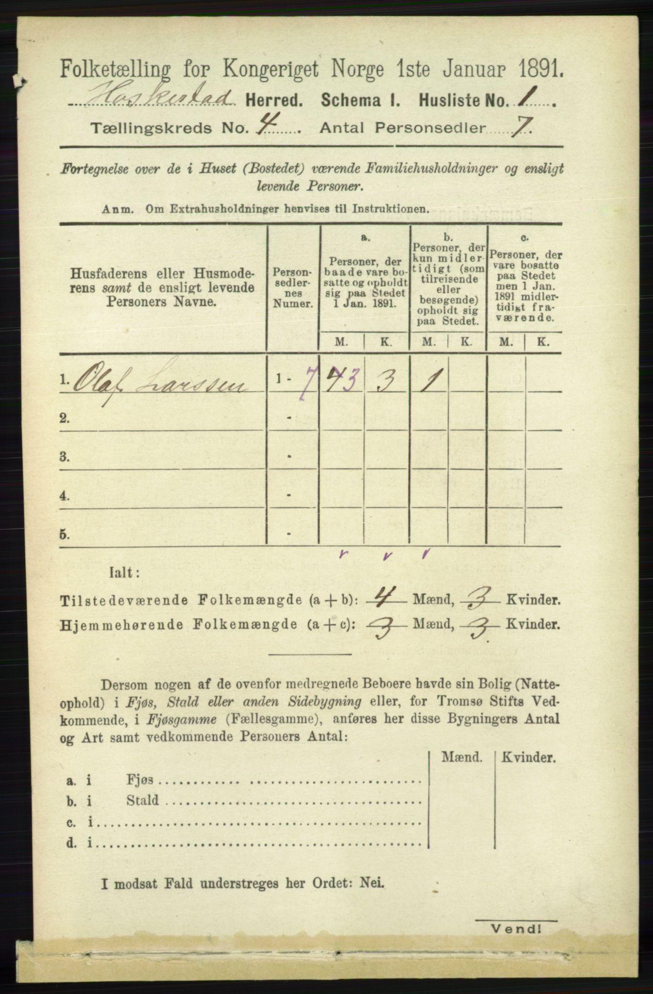 RA, Folketelling 1891 for 1113 Heskestad herred, 1891, s. 491