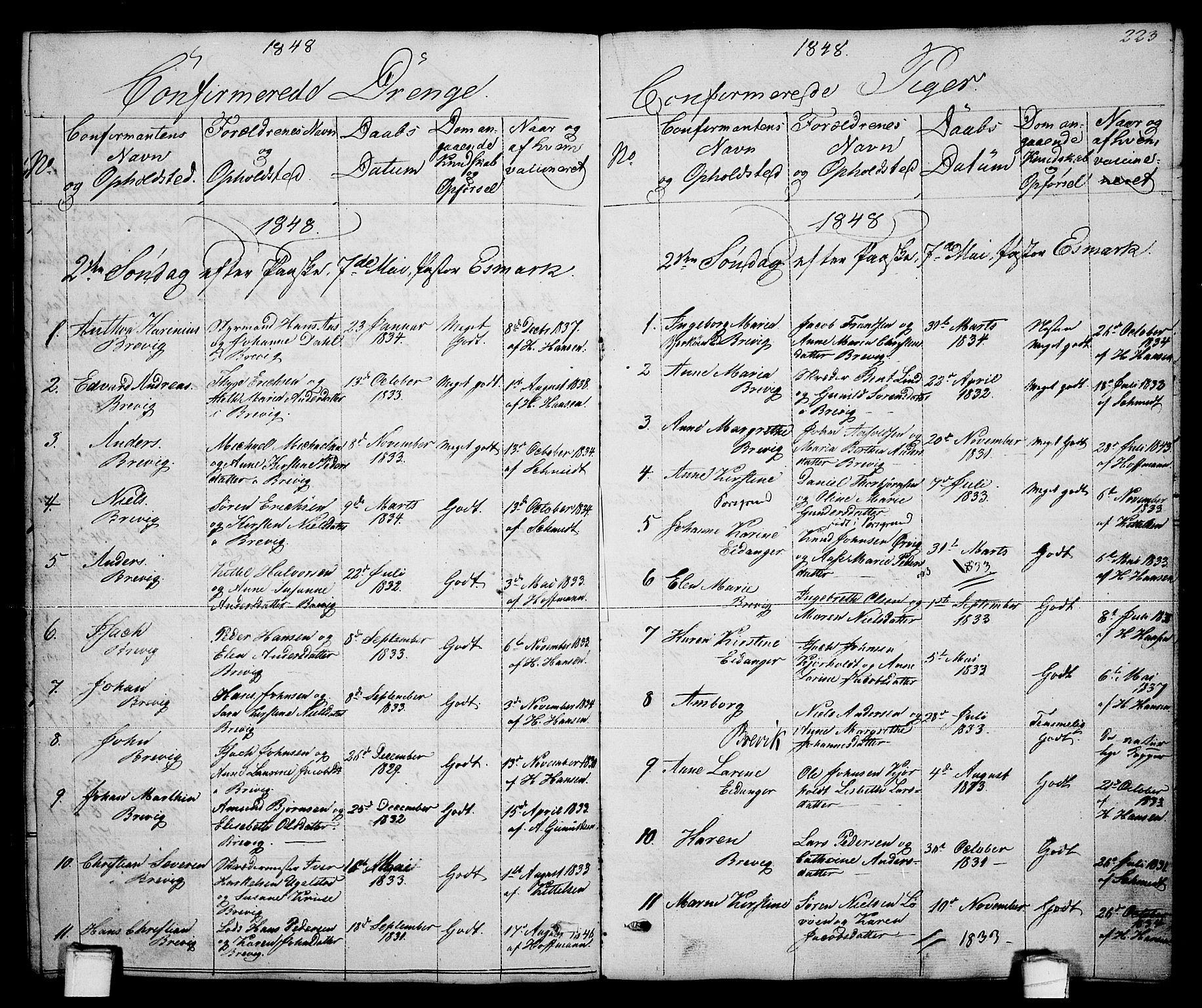 SAKO, Brevik kirkebøker, G/Ga/L0002: Klokkerbok nr. 2, 1846-1865, s. 223