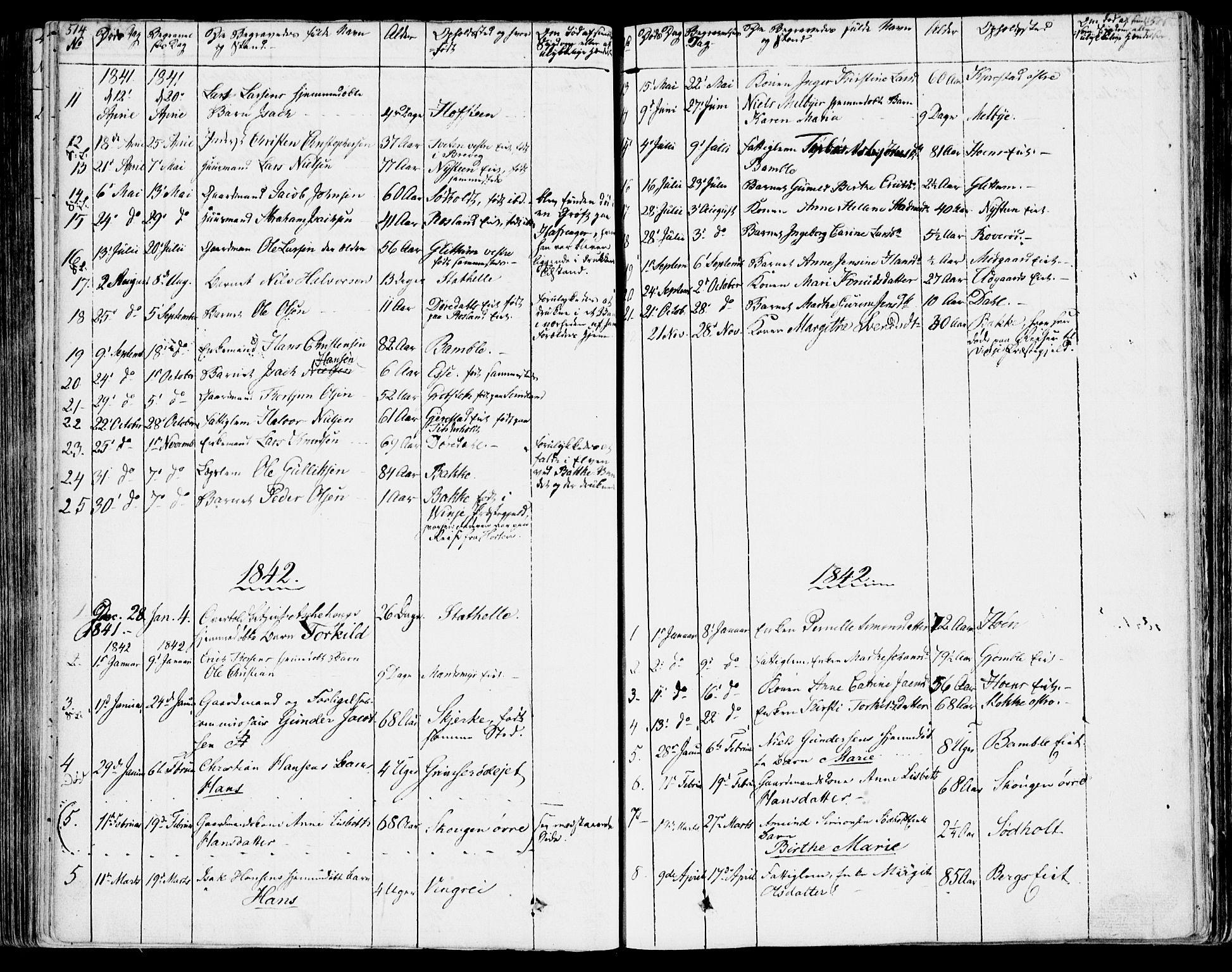 SAKO, Bamble kirkebøker, F/Fa/L0004: Ministerialbok nr. I 4, 1834-1853, s. 514-515