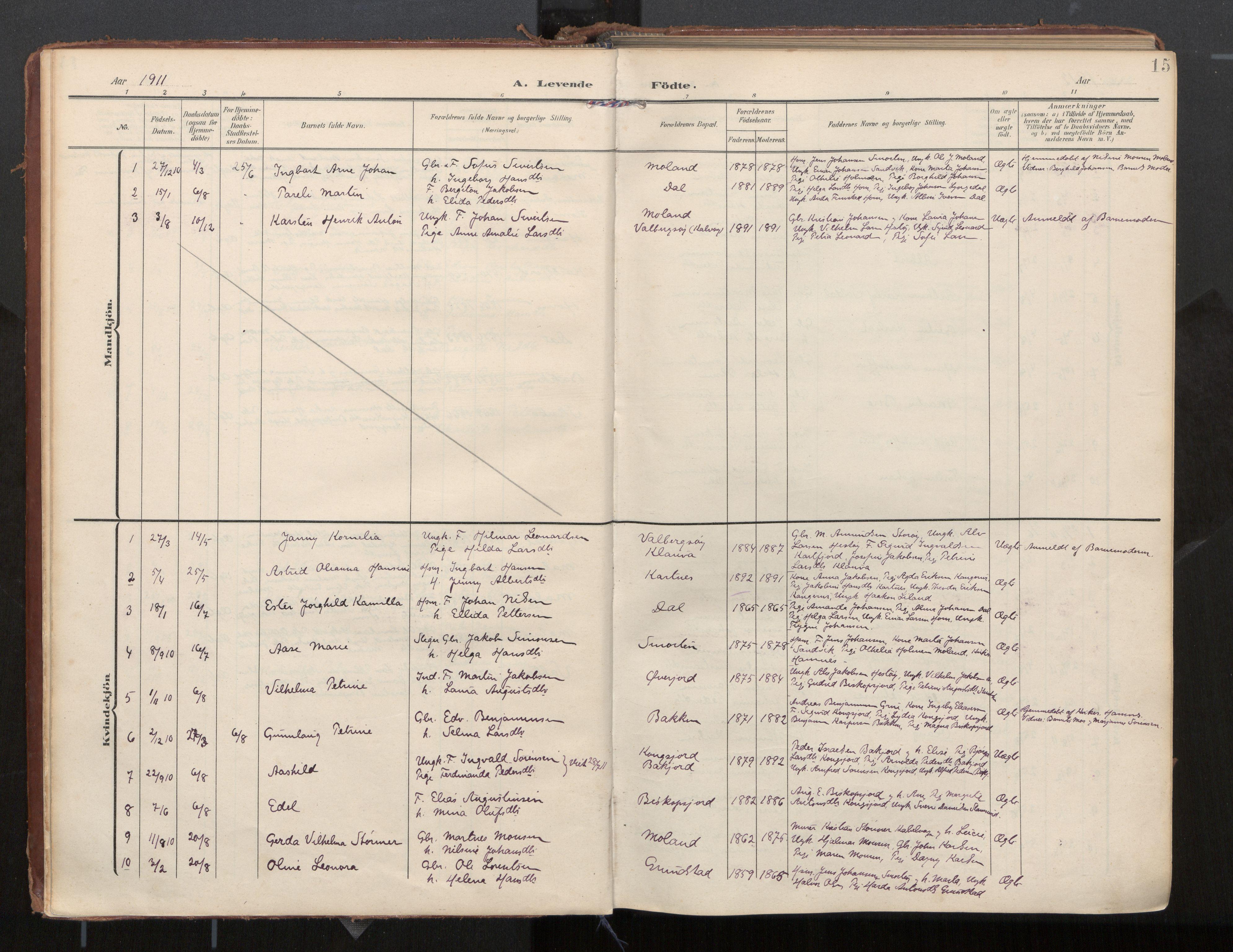 SAT, Ministerialprotokoller, klokkerbøker og fødselsregistre - Nordland, 884/L1194: Ministerialbok nr. 884A02, 1906-1937, s. 15