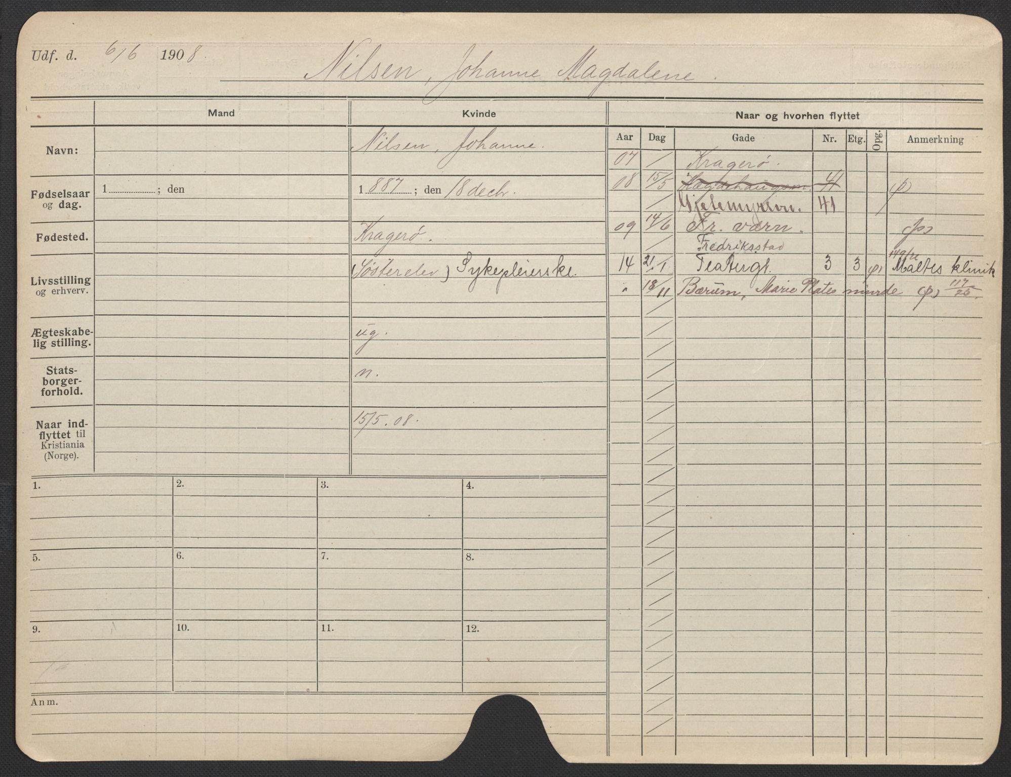 SAO, Oslo folkeregister, Registerkort, F/Fa/Fac/L0021: Kvinner, 1906-1914, s. 301a