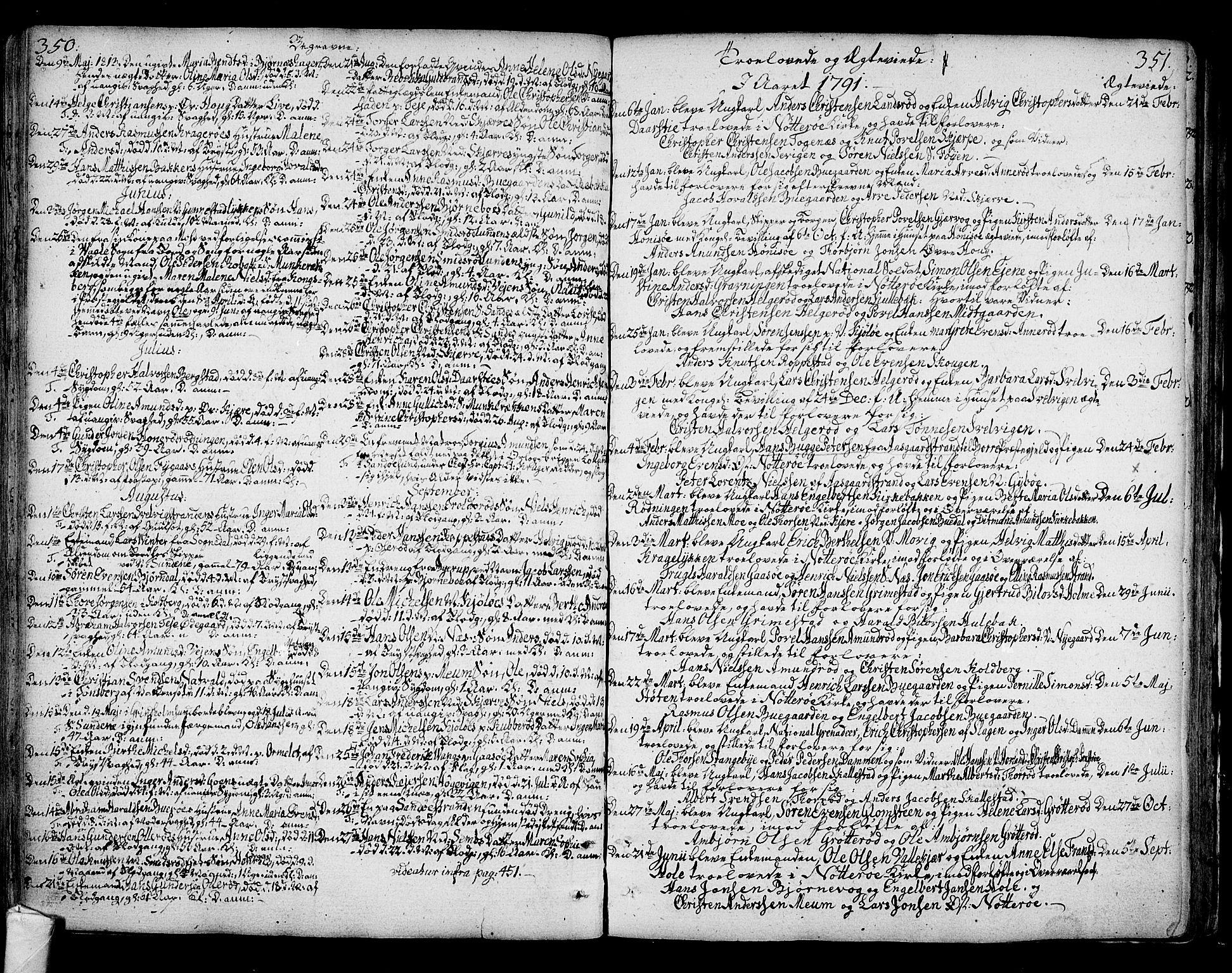 SAKO, Nøtterøy kirkebøker, F/Fa/L0003: Ministerialbok nr. I 3, 1791-1814, s. 350-351