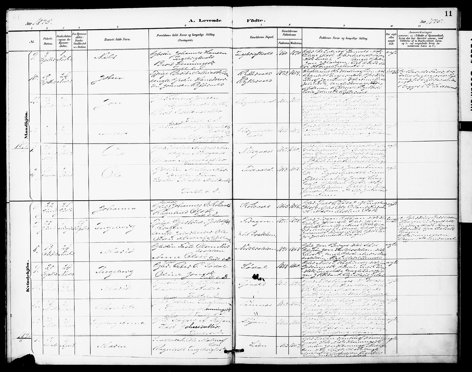 SAT, Ministerialprotokoller, klokkerbøker og fødselsregistre - Sør-Trøndelag, 683/L0948: Ministerialbok nr. 683A01, 1891-1902, s. 11