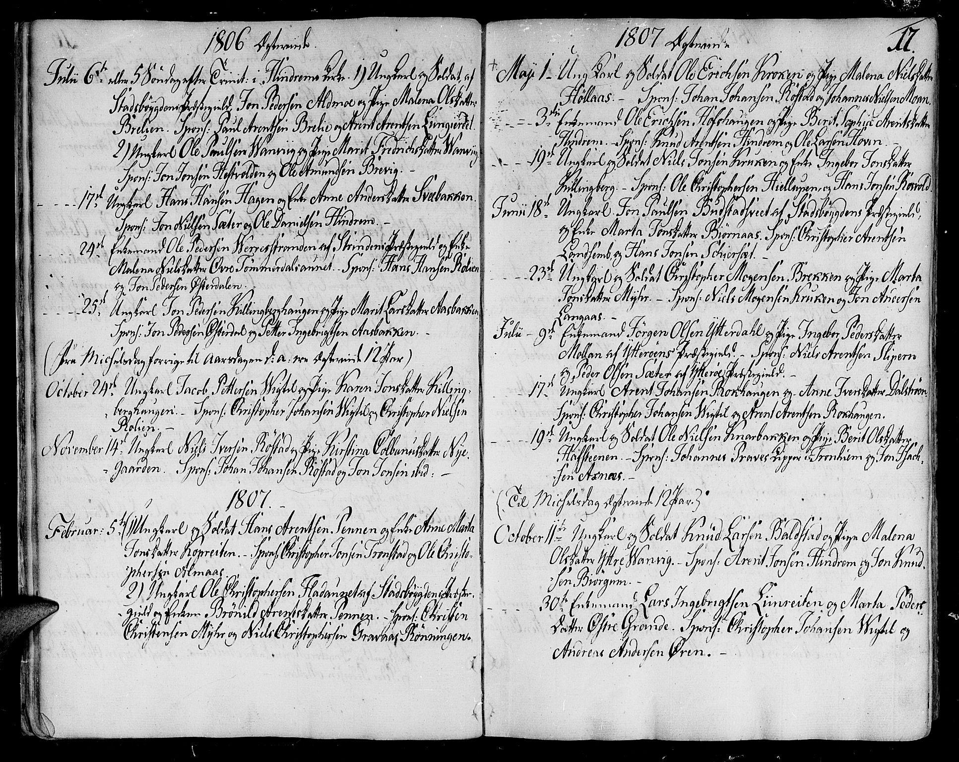 SAT, Ministerialprotokoller, klokkerbøker og fødselsregistre - Nord-Trøndelag, 701/L0004: Ministerialbok nr. 701A04, 1783-1816, s. 17