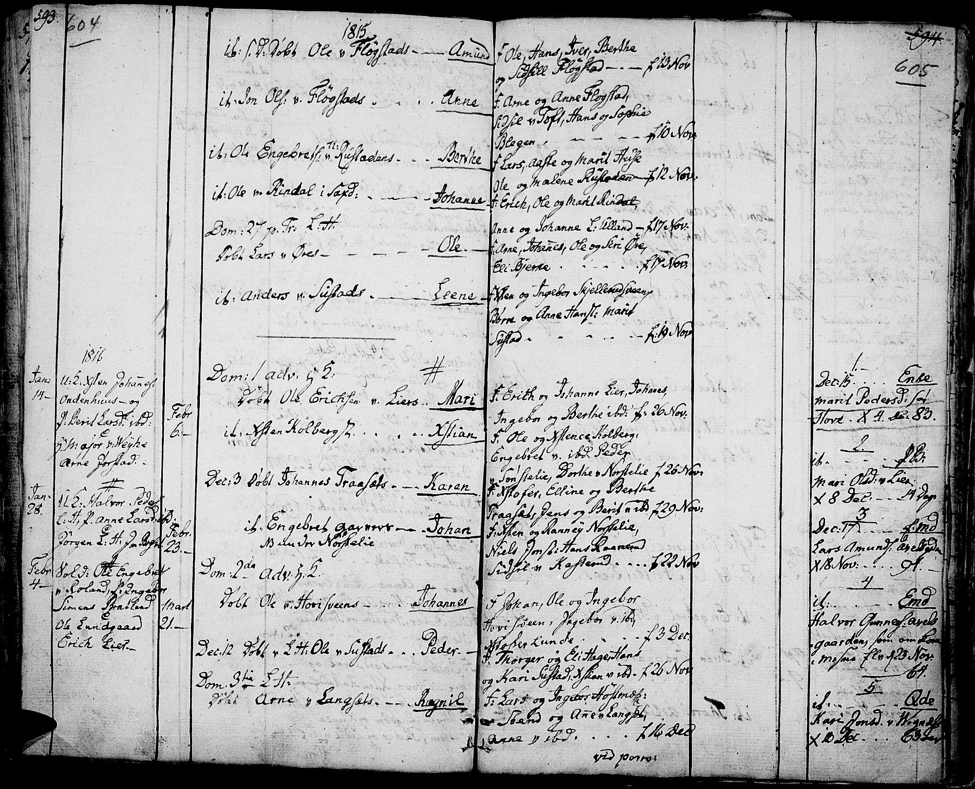 SAH, Fåberg prestekontor, Ministerialbok nr. 2, 1775-1818, s. 604-605