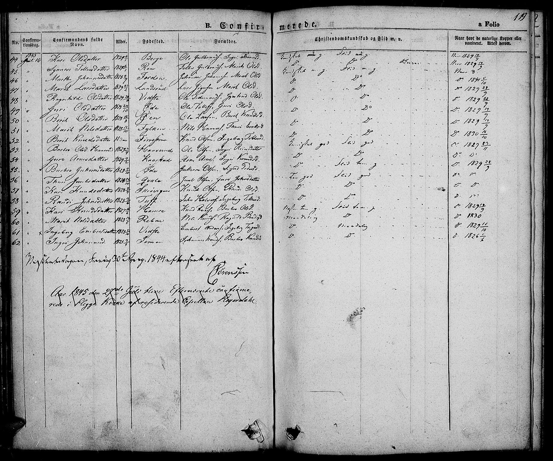SAH, Slidre prestekontor, Ministerialbok nr. 3, 1831-1843, s. 119