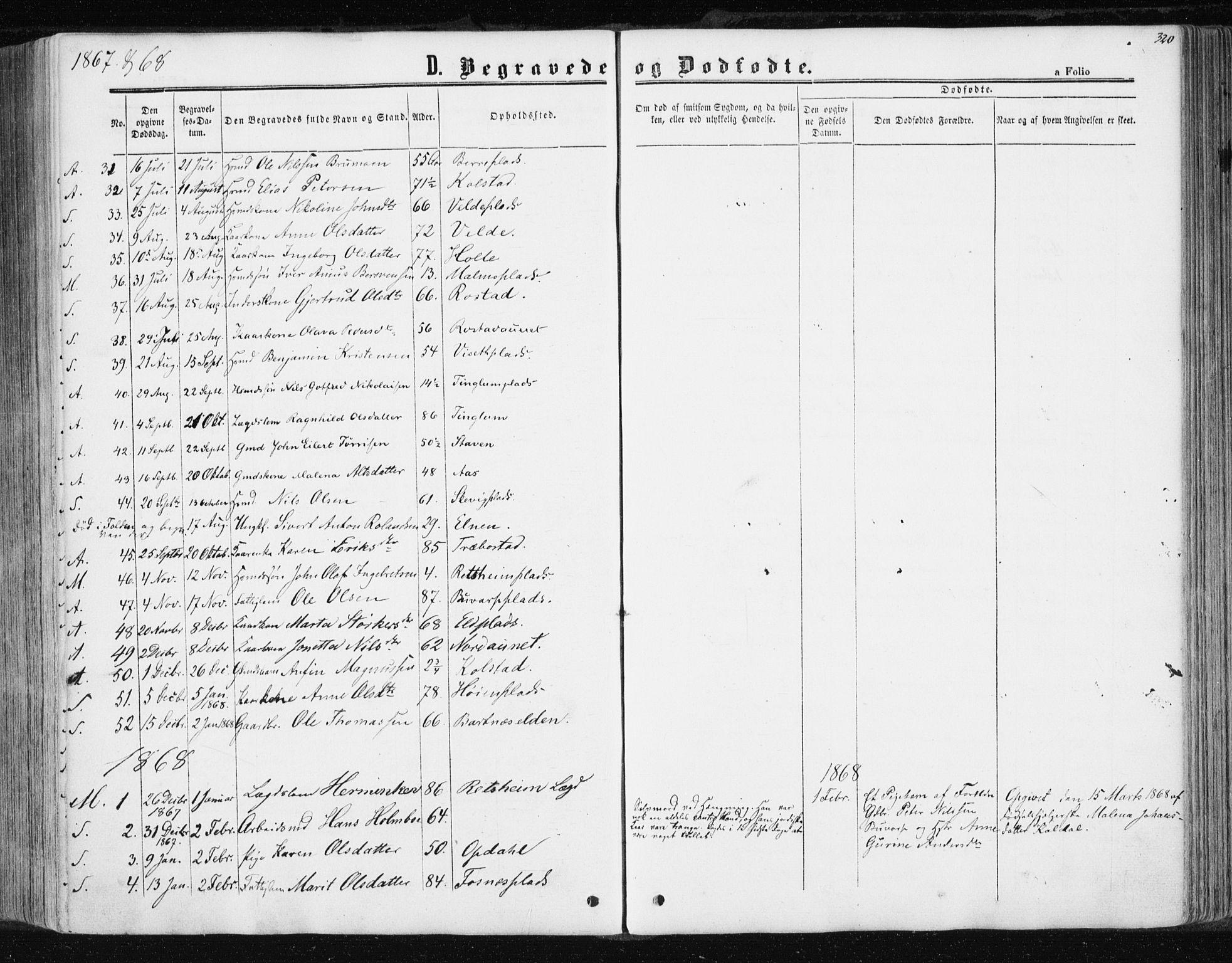SAT, Ministerialprotokoller, klokkerbøker og fødselsregistre - Nord-Trøndelag, 741/L0394: Ministerialbok nr. 741A08, 1864-1877, s. 320