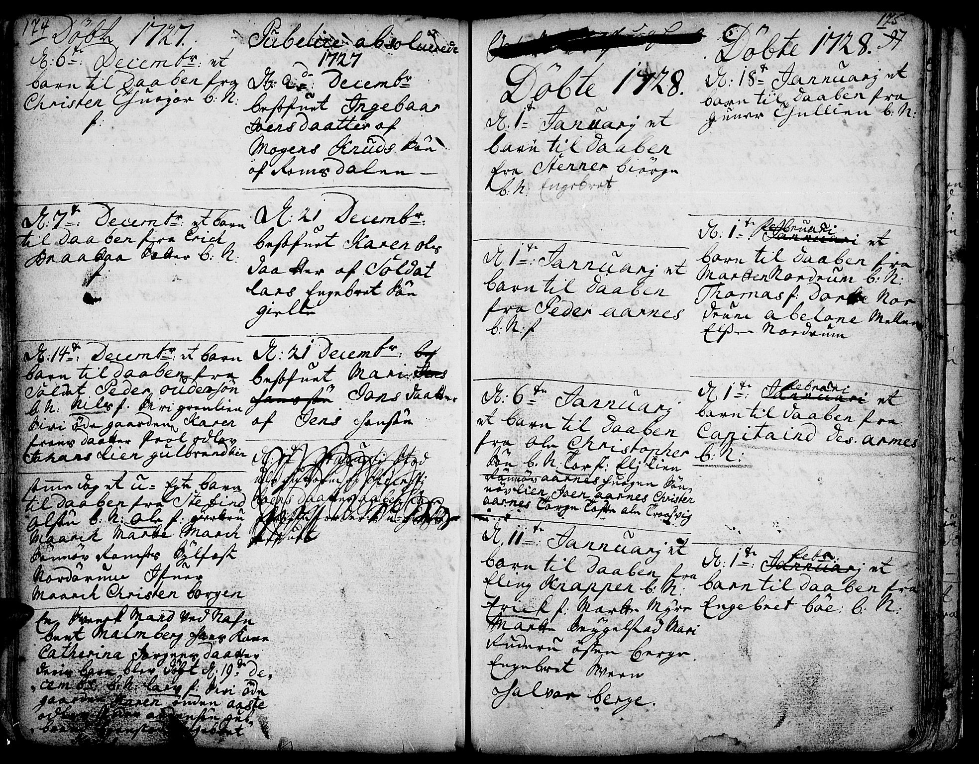SAH, Ringebu prestekontor, Ministerialbok nr. 1, 1696-1733, s. 174-175