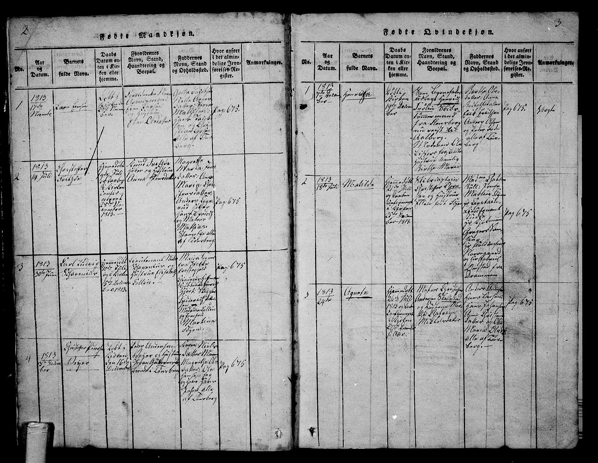 SAKO, Tønsberg kirkebøker, G/Ga/L0001: Klokkerbok nr. 1, 1813-1826, s. 2-3
