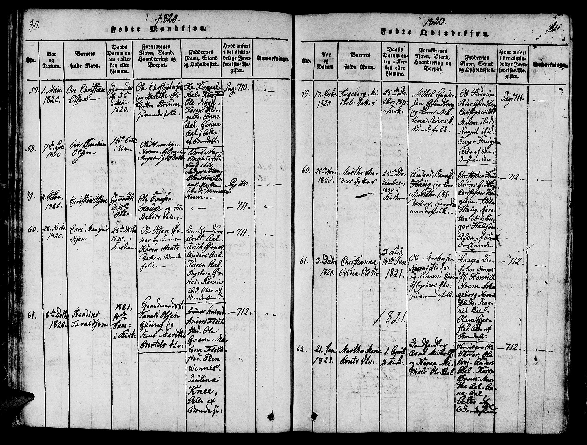 SAT, Ministerialprotokoller, klokkerbøker og fødselsregistre - Nord-Trøndelag, 746/L0441: Ministerialbok nr. 746A03 /2, 1816-1827, s. 80-81