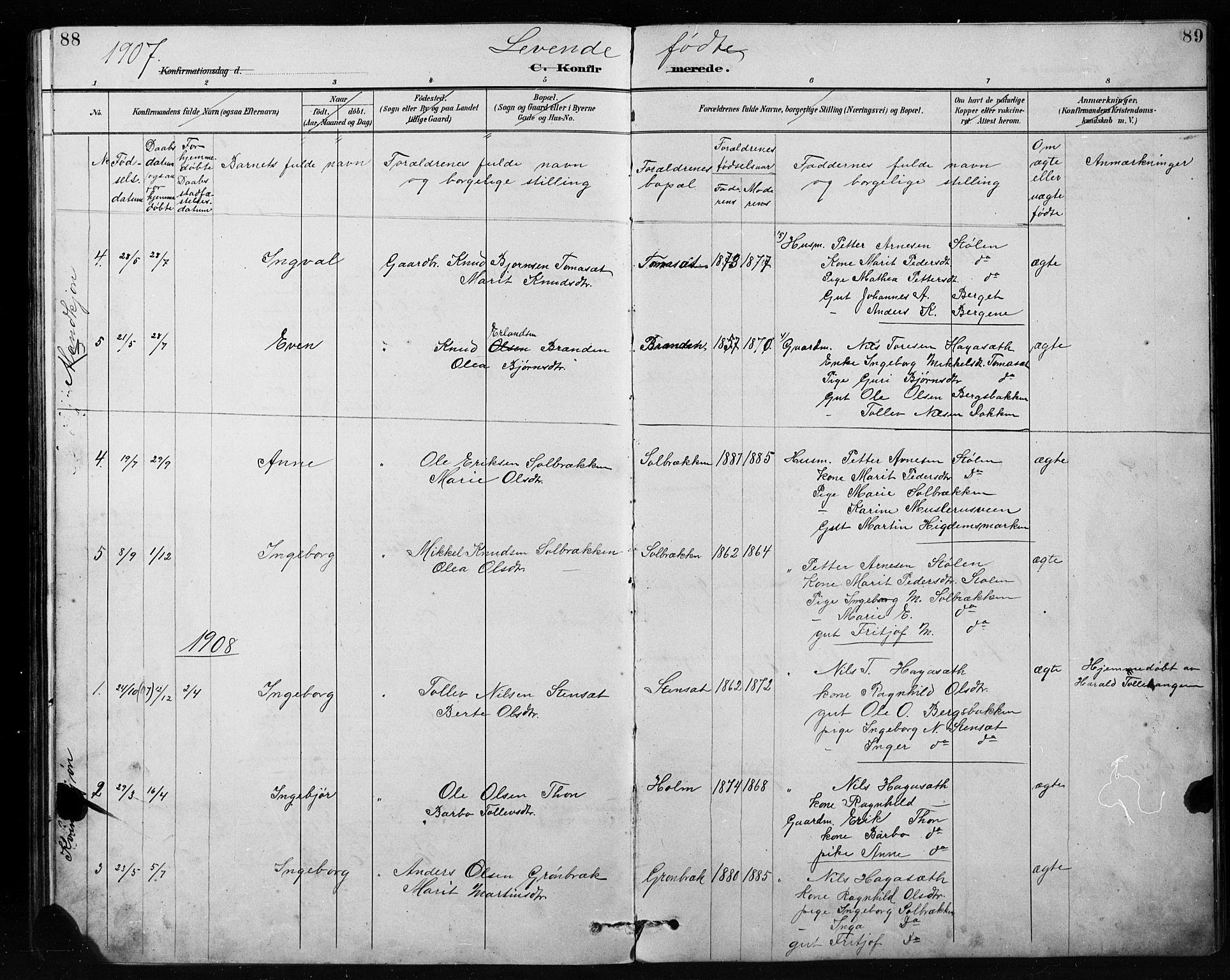SAH, Etnedal prestekontor, H/Ha/Hab/Habb/L0001: Klokkerbok nr. II 1, 1894-1911, s. 88-89