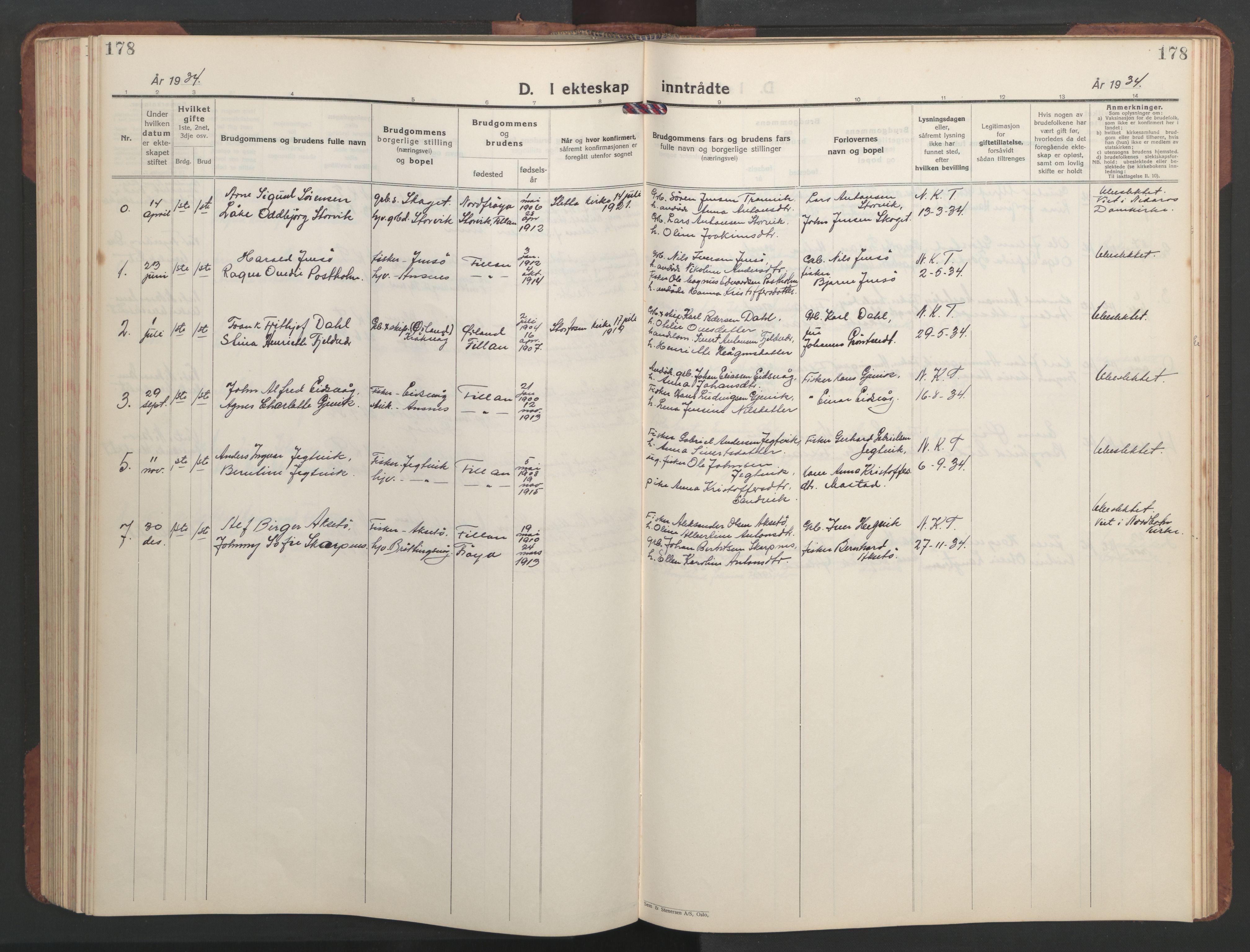 SAT, Ministerialprotokoller, klokkerbøker og fødselsregistre - Sør-Trøndelag, 637/L0564: Klokkerbok nr. 637C05, 1928-1968, s. 178