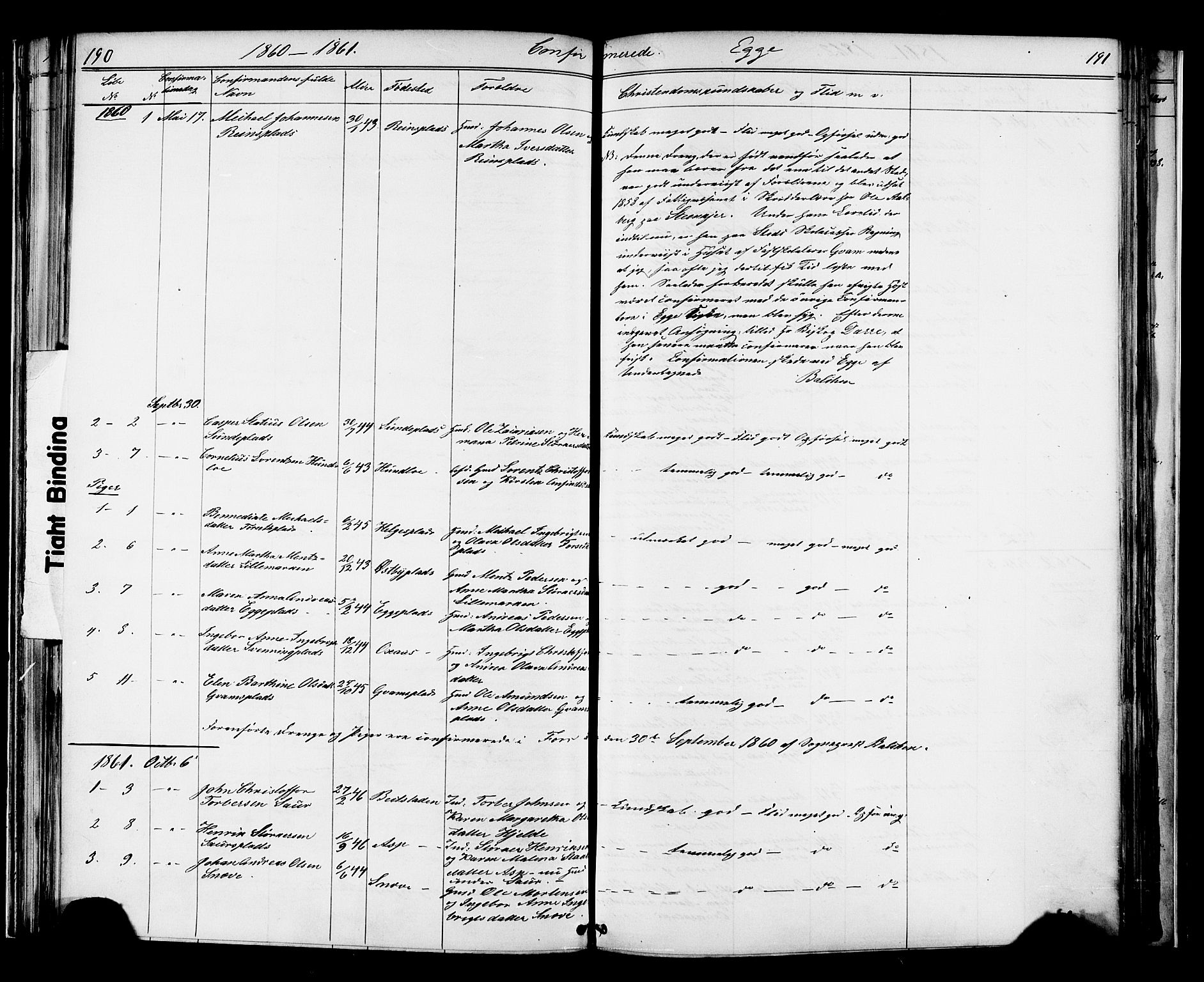SAT, Ministerialprotokoller, klokkerbøker og fødselsregistre - Nord-Trøndelag, 739/L0367: Ministerialbok nr. 739A01 /3, 1838-1868, s. 190-191